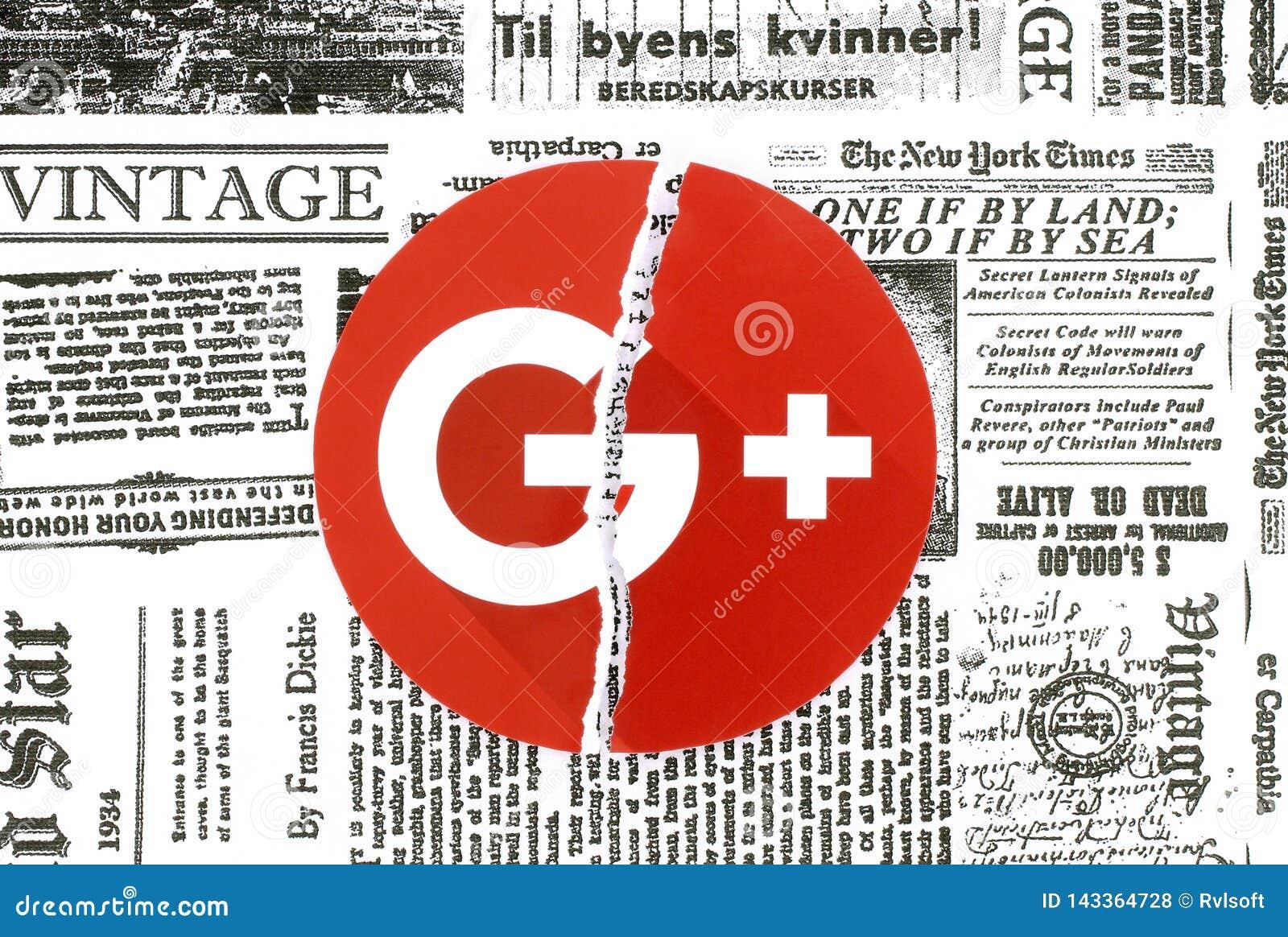 Google plus l icône déchirée et mise sur le rétro journal
