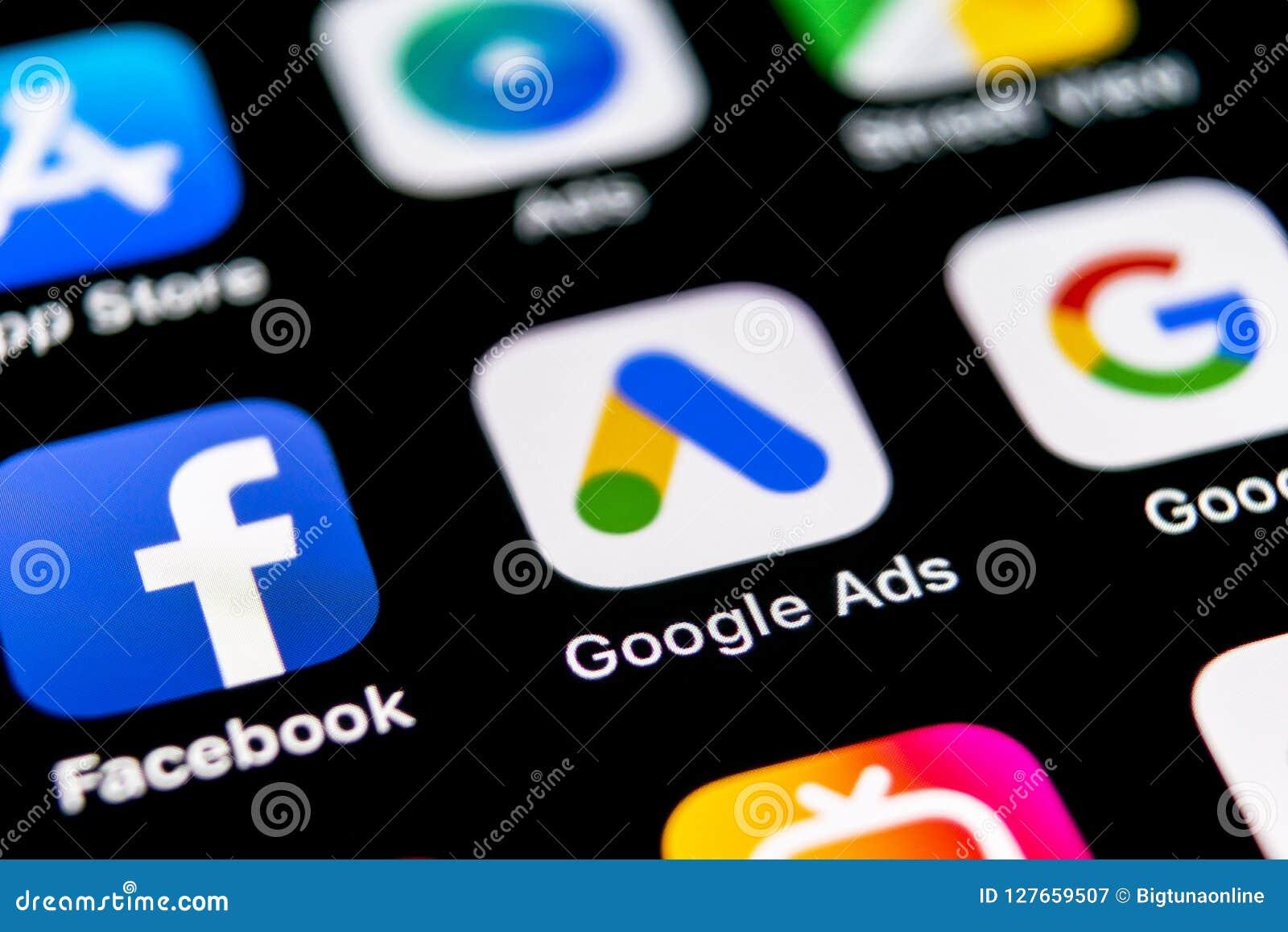 Google reklam AdWords podaniowa ikona na Jabłczany X iPhone parawanowym zakończeniu Google reklama Formułuje ikonę Google reklam