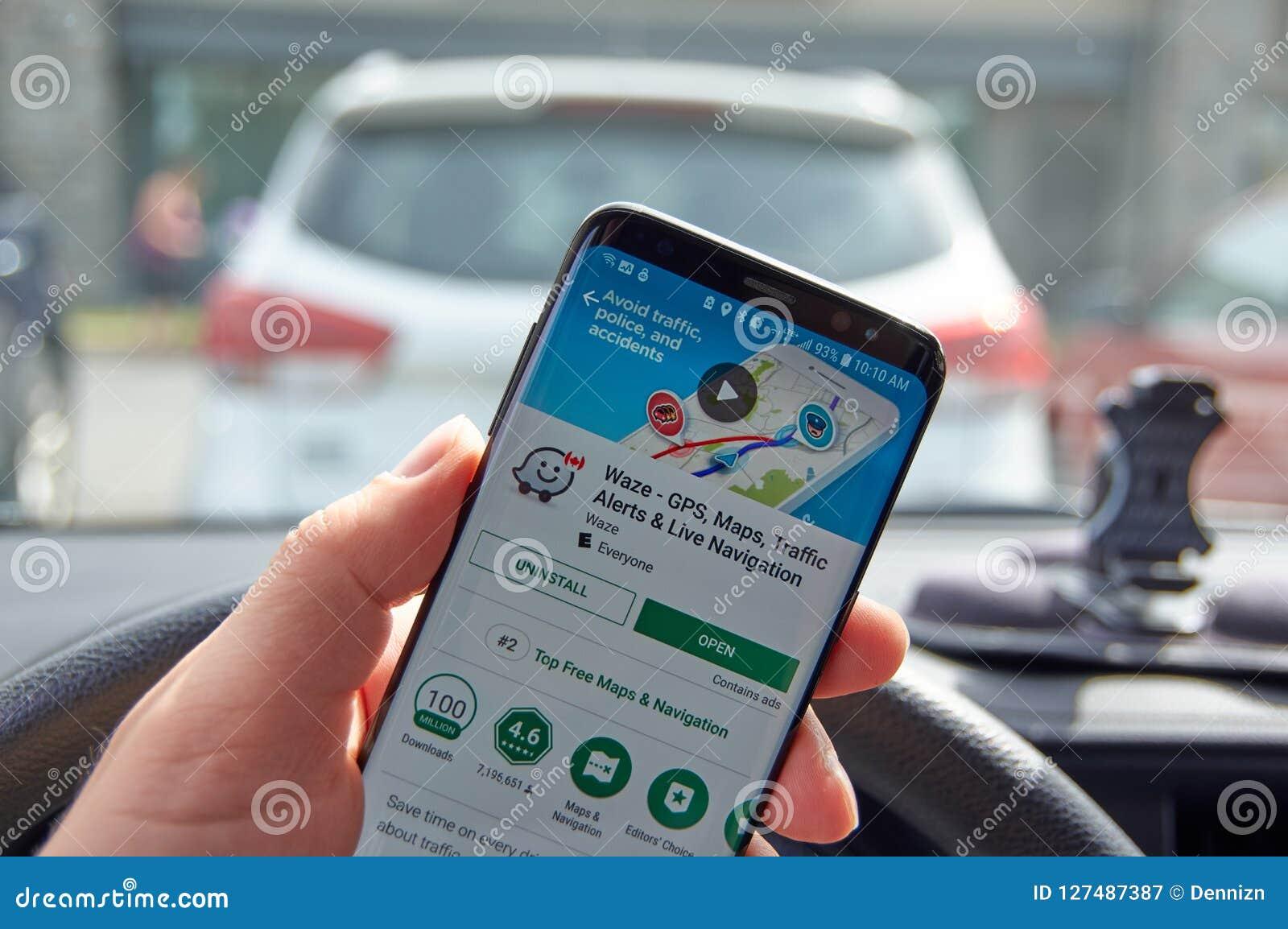 Google Waze GPS navigation editorial photography  Image of