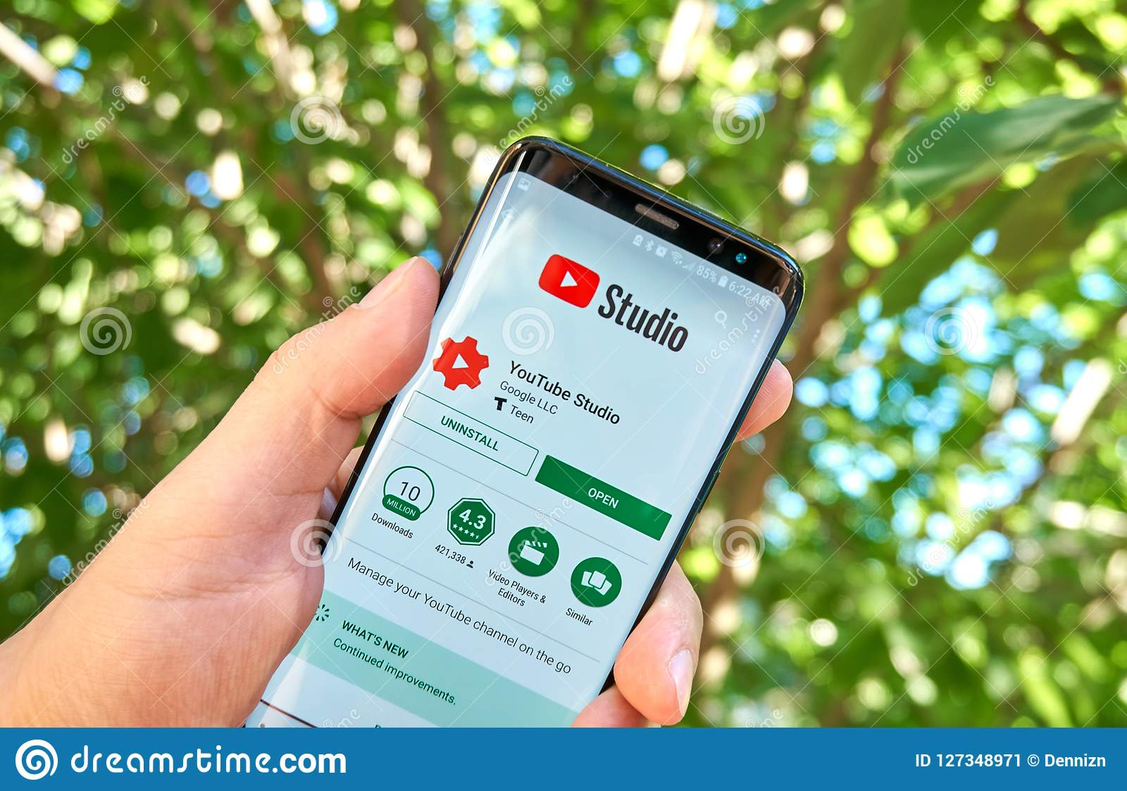 Google Youtube Studio Mobile App On Samsung S8  Editorial Photo