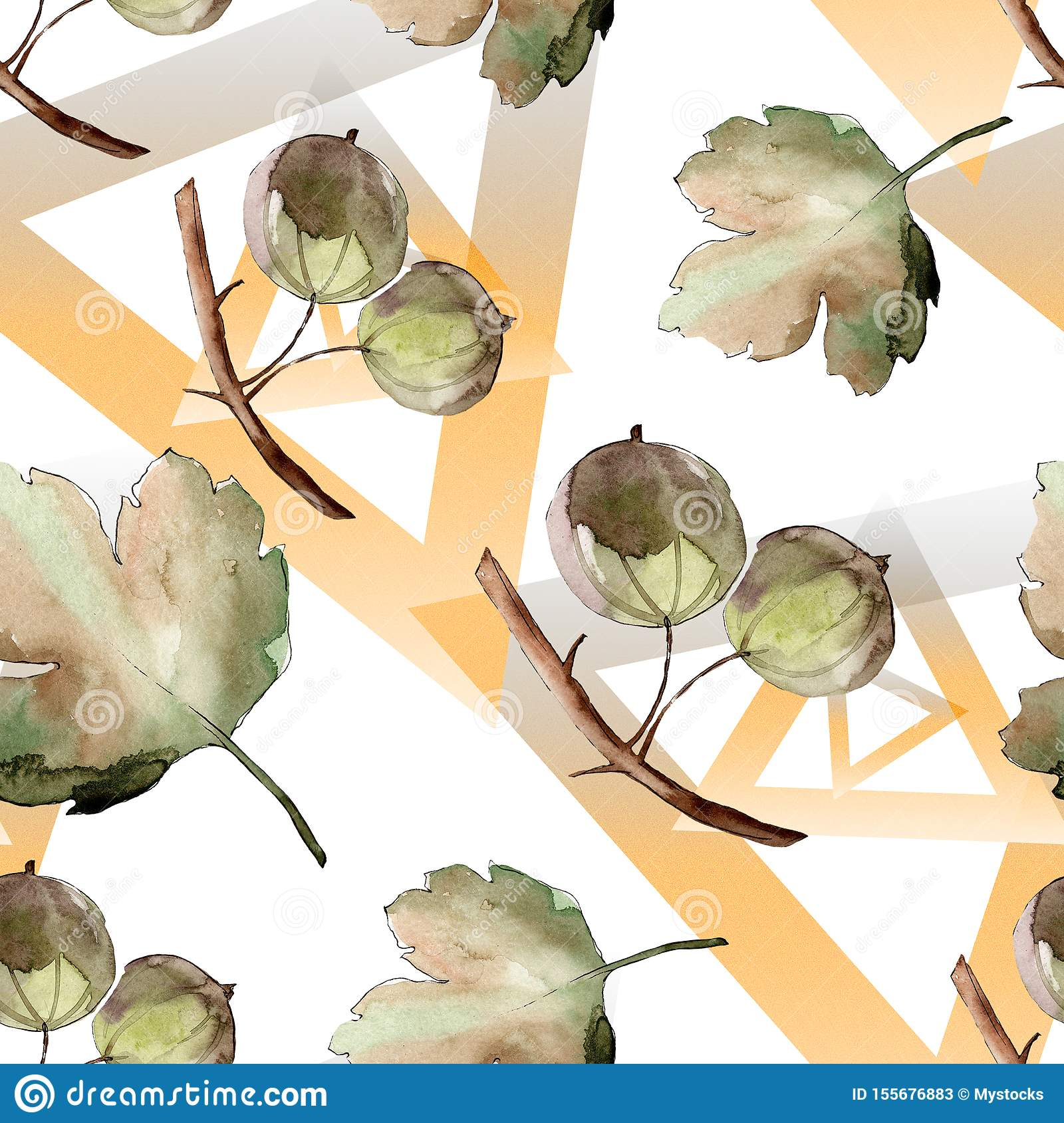 Gooseberry healthy food. Watercolor background illustration set. Seamless background pattern.