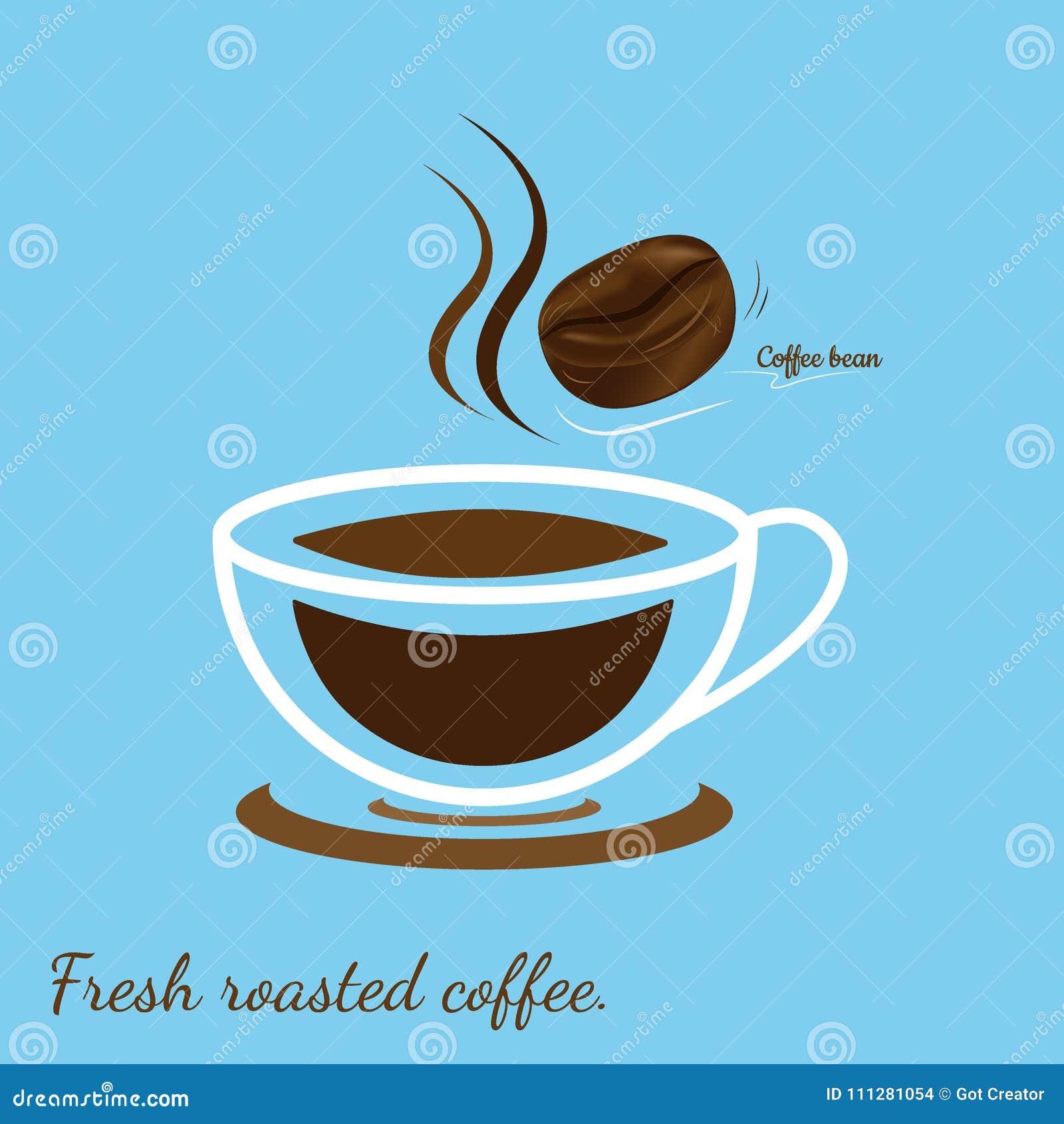 Gorąca filiżanka z kawową fasolą, Świeża piec kawa