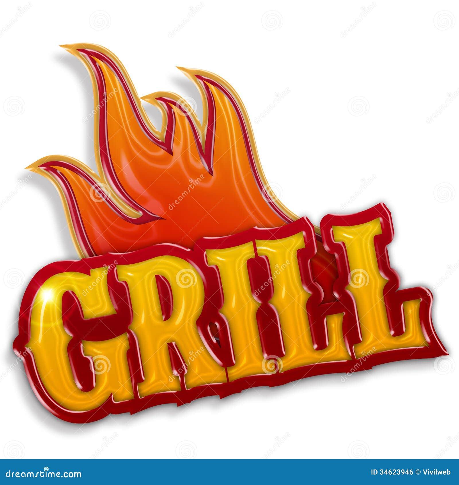 Gorąca grill etykietka