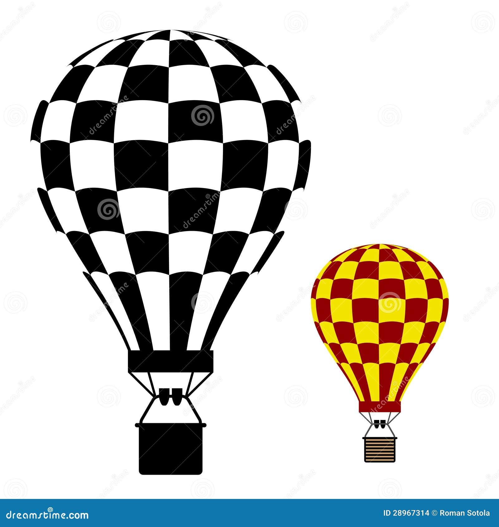 Gorące powietrze balonu czerni symbol