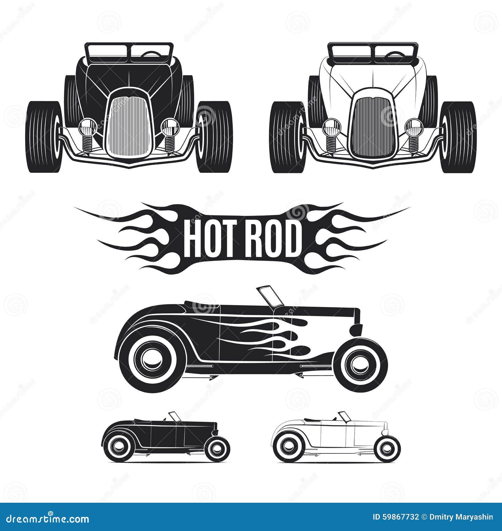 Gorącego prącia samochodowi tamplates dla ikon i emblematy odizolowywający na białym tle