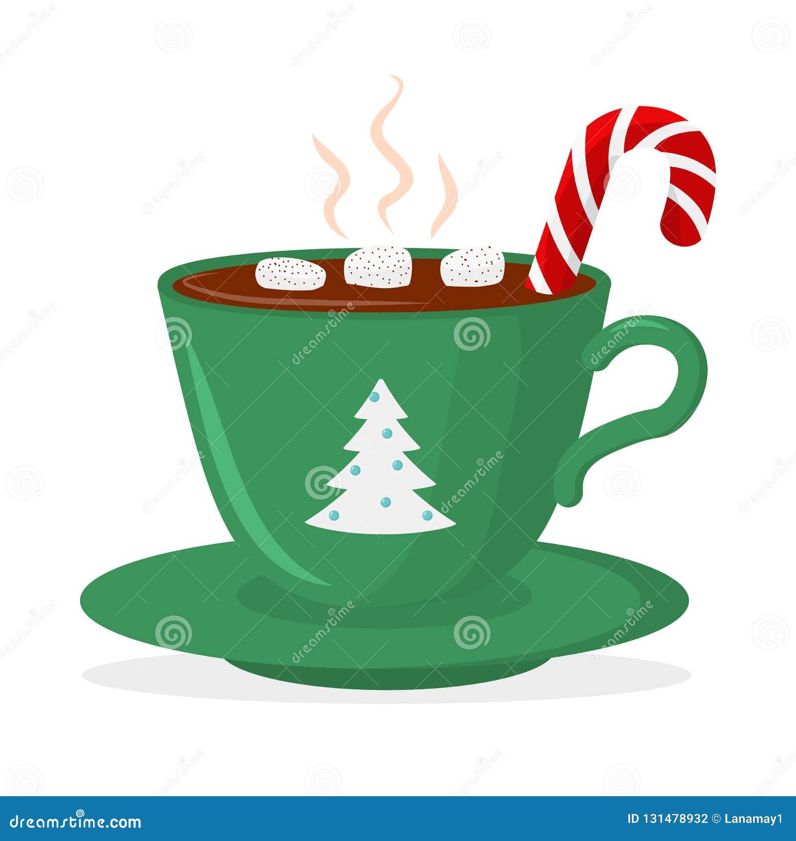 Gorącej czekolady filiżanka z marshmallow i lizakiem, zieleń z choinką Kartka bożonarodzeniowa projekta element odosobniony