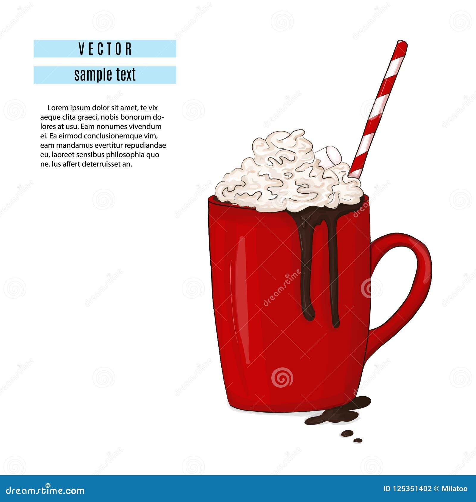 Gorącej czekolady napoju ilustracja Śniadaniowa czerwona filiżanka z kakao i marshmallow drukiem Słodkiej zimy wygodny kubek z tu