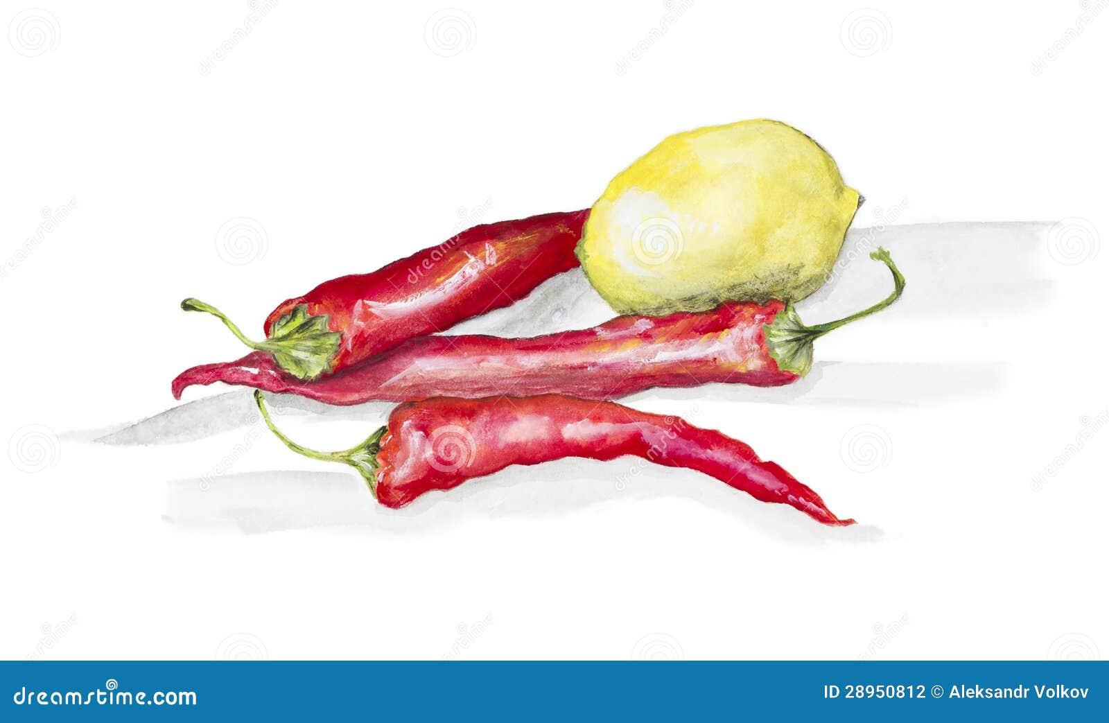 Gorący chili pieprze, cytryna i