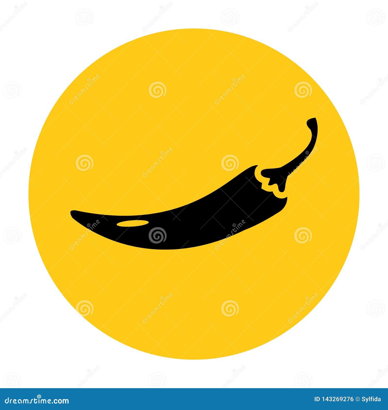 Gorący chili pieprzu ikona Ikona od setu Czarna sylwetka na jaskrawym ?