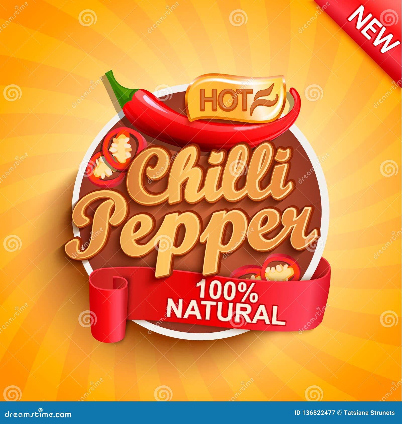 Gorący chili pieprzu logo, etykietka lub majcher,
