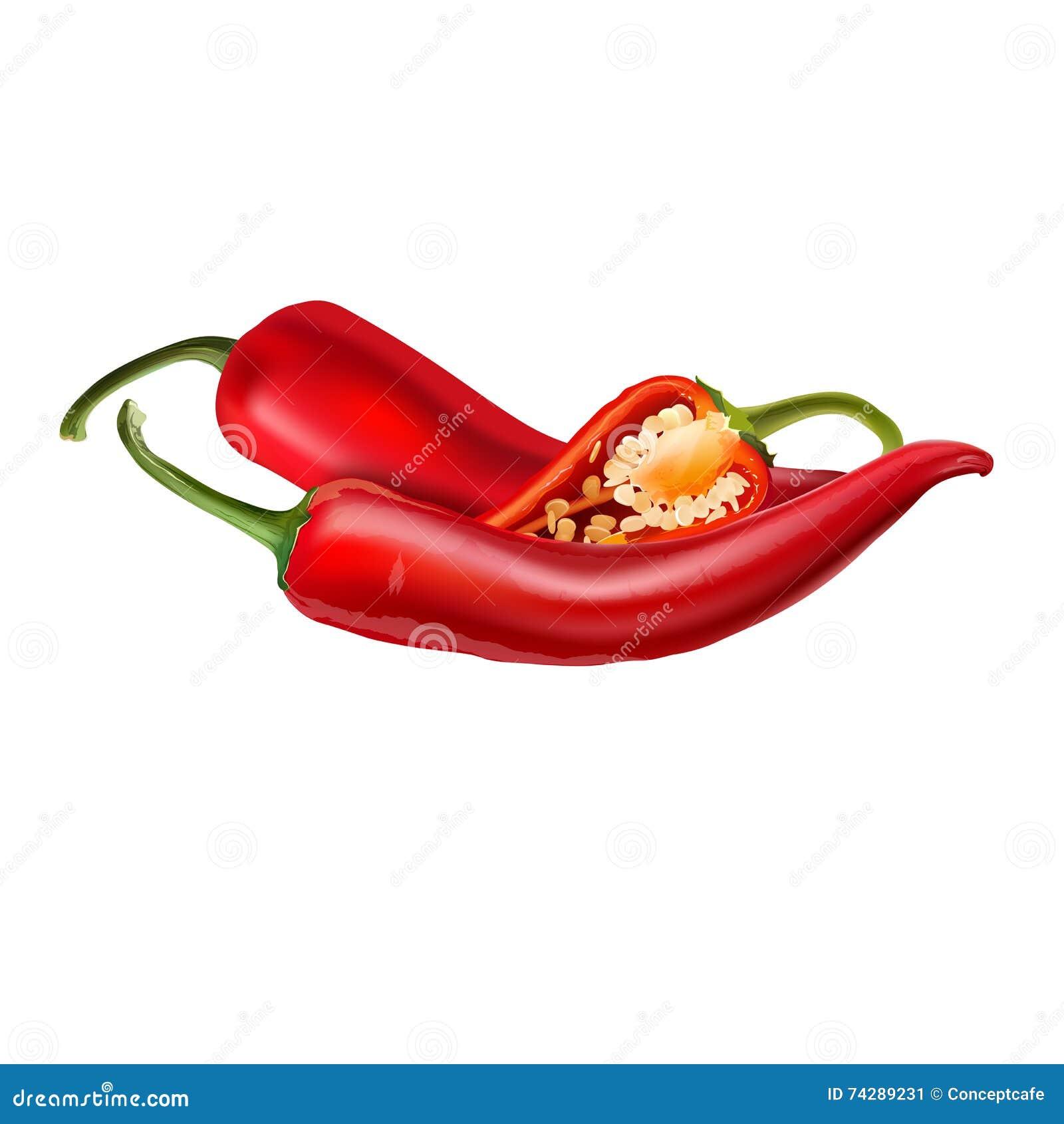 Gorący czerwonego chili pieprze na białym tle