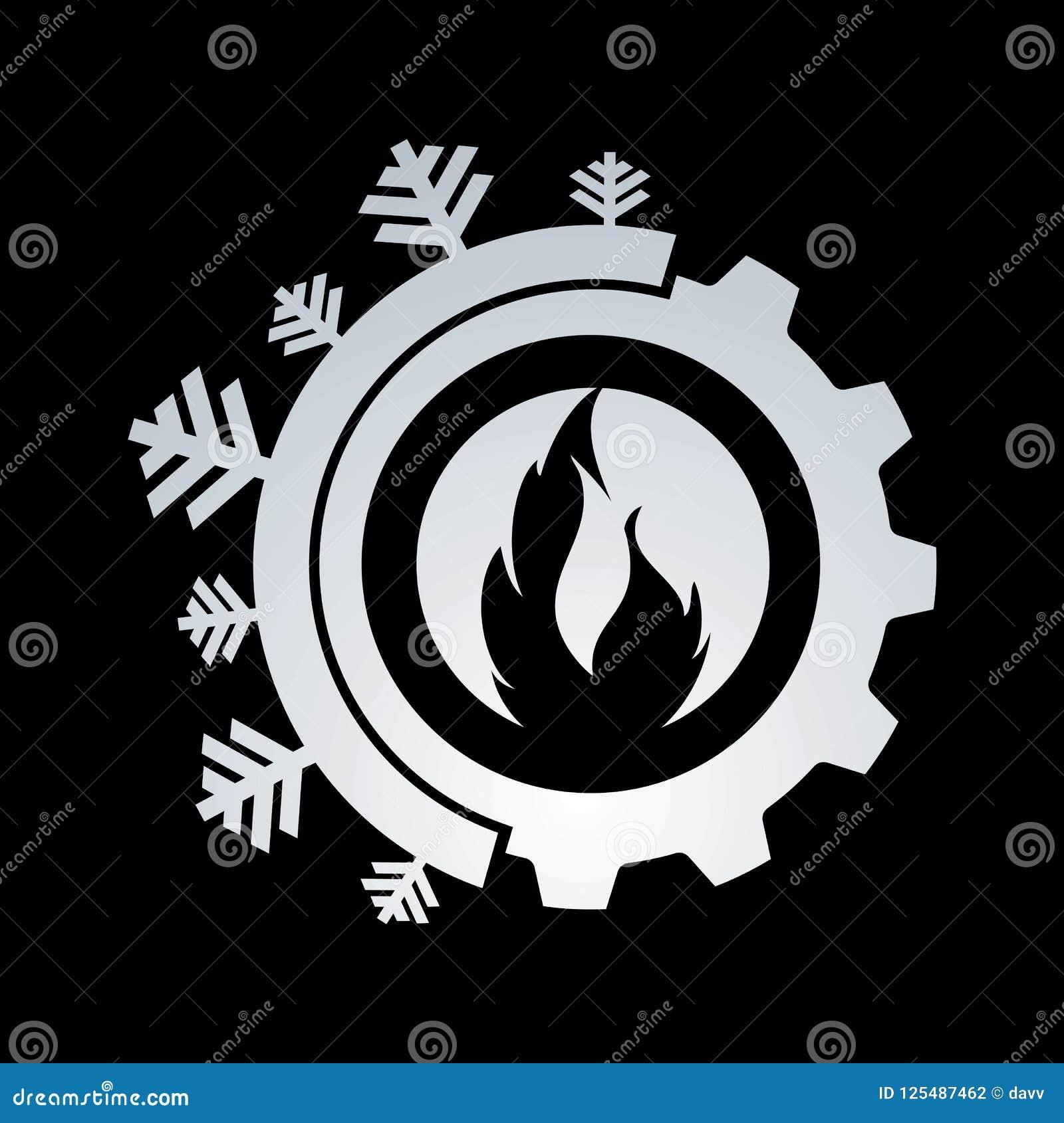 Gorący i chłodno z przekładnia koloru loga wektorowym projektem