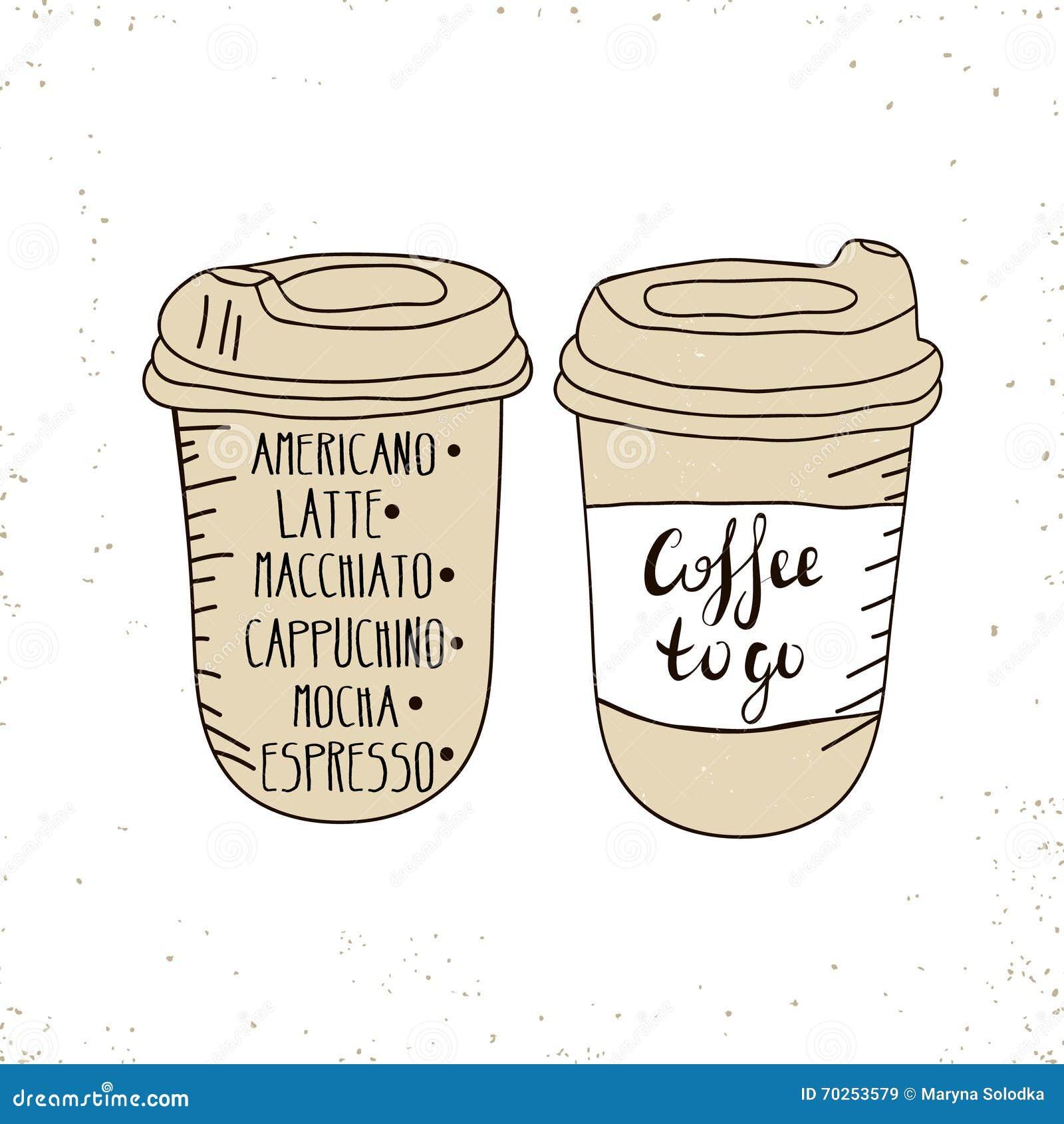 Gorący Kawowy Rozporządzalny iść filiżanka z deklami i tekstem - kawa iść odosobniony na bielu szczotkarski węgiel drzewny rysune