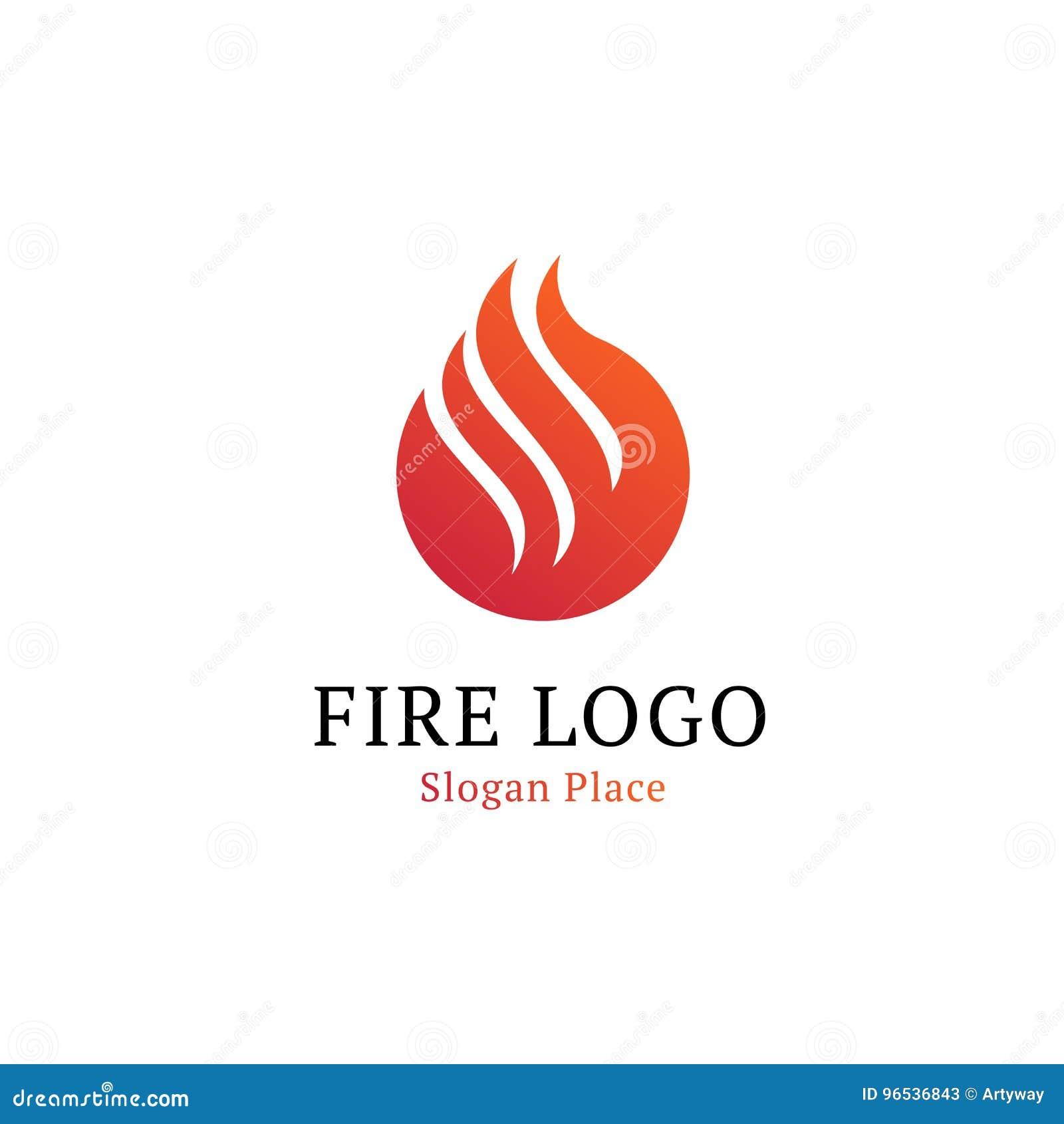 Gorący kuchenny logotypu szablon Falista biała linia na czerwonym round kształcie Ogień, płomienie, płonący wektorowy logo Odosob