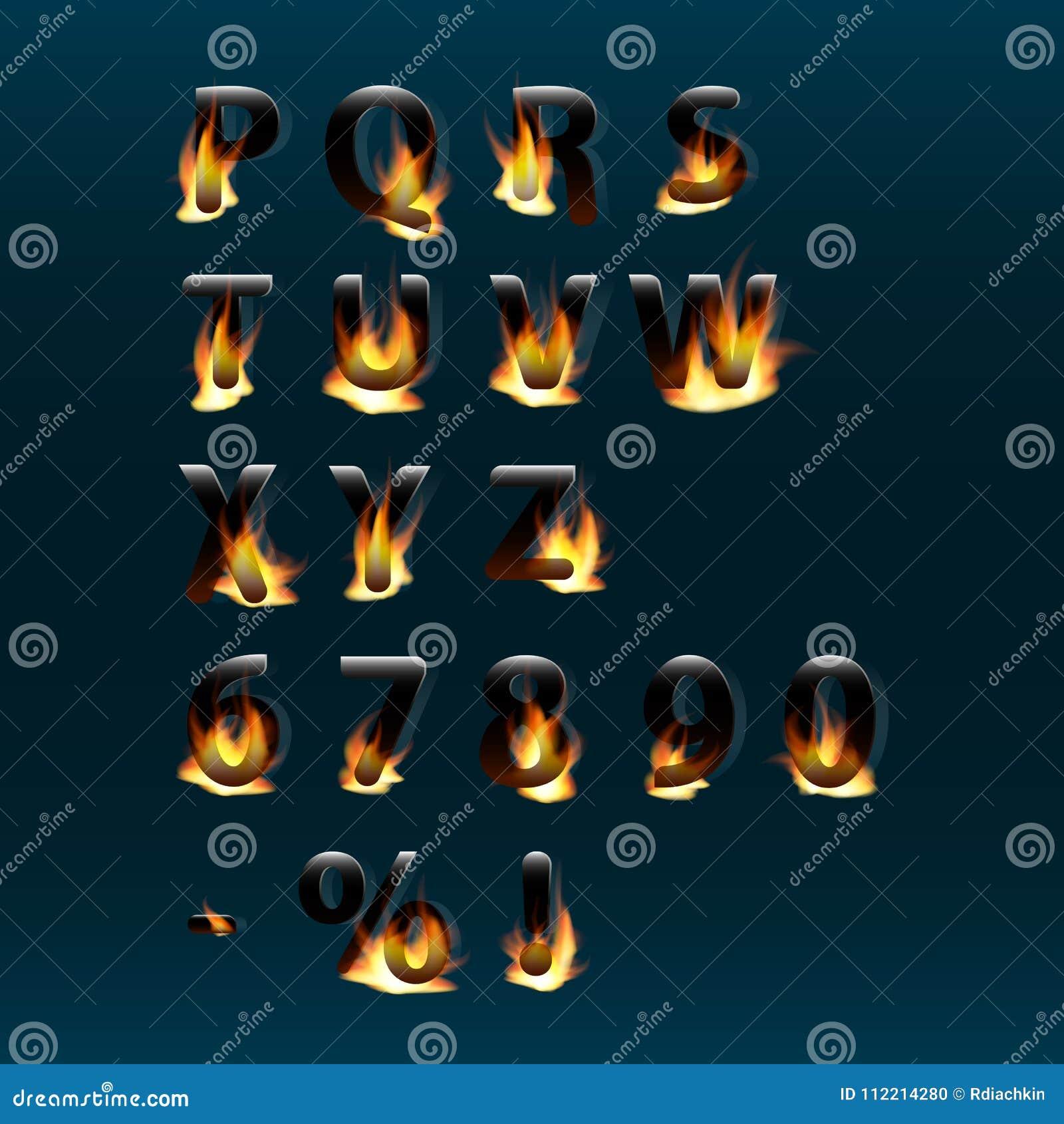 Gorący listy i liczby na ogieniu alfabet Pożarnicza płonąca wektorowa chrzcielnica Część 2