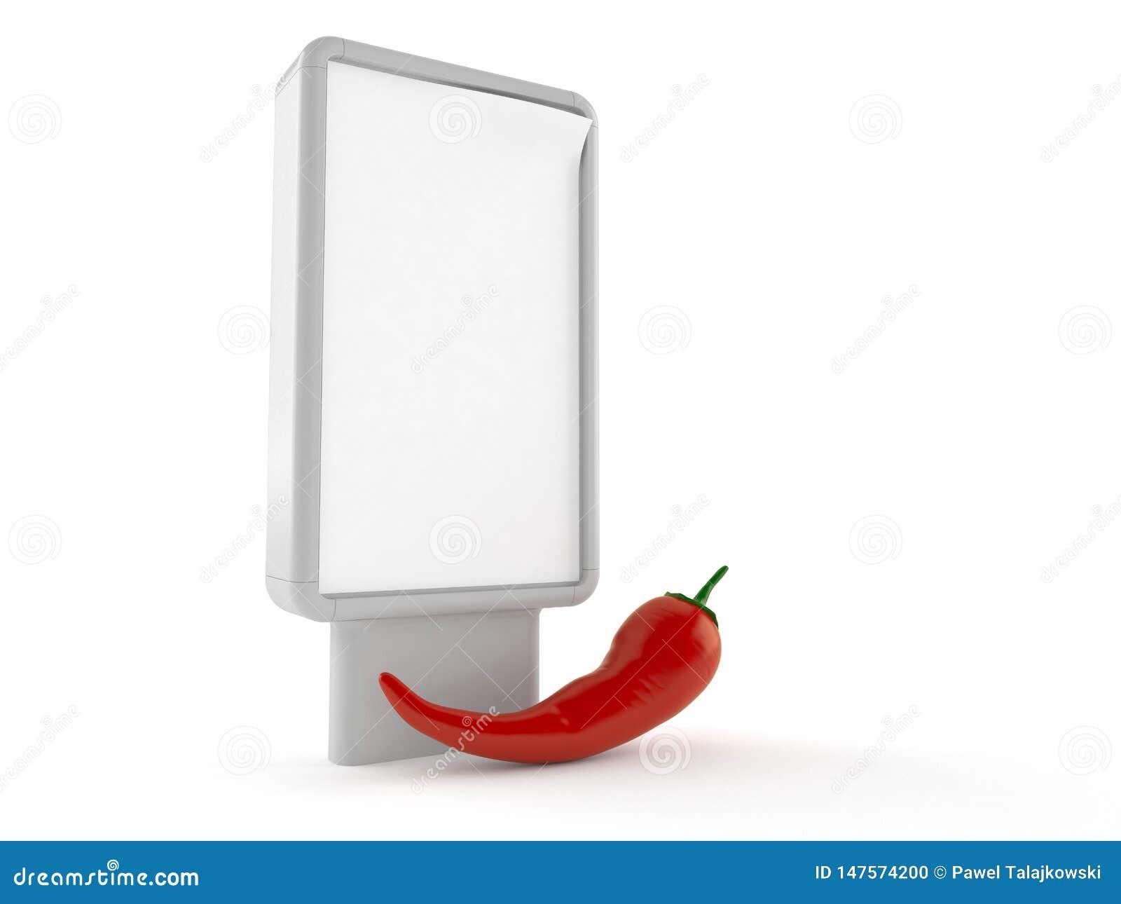 Gorący pieprz z pustym billboardem