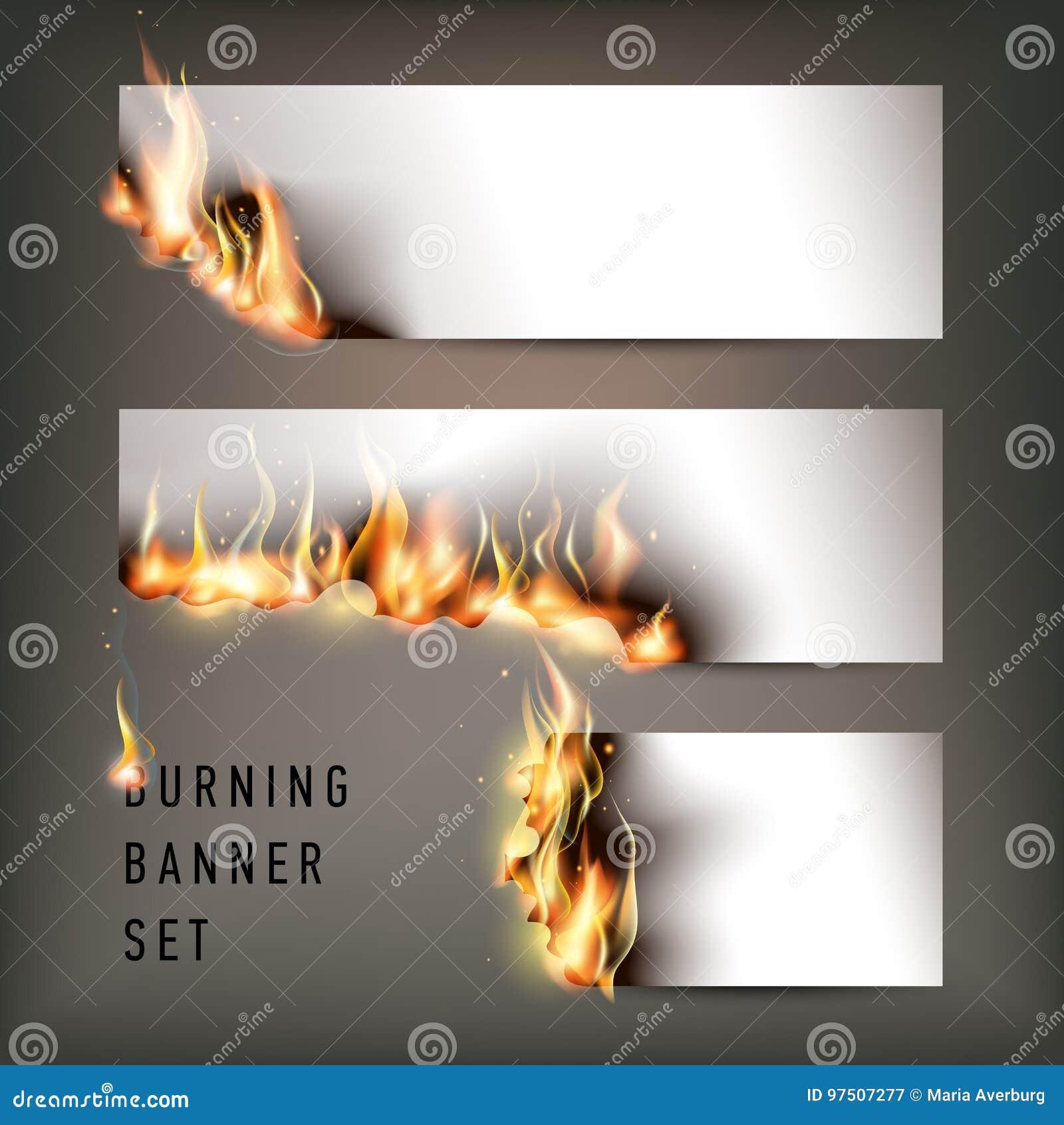 Gorący pożarniczy sztandary ustawiający z pomarańczowymi płomieniami dla twój projekta