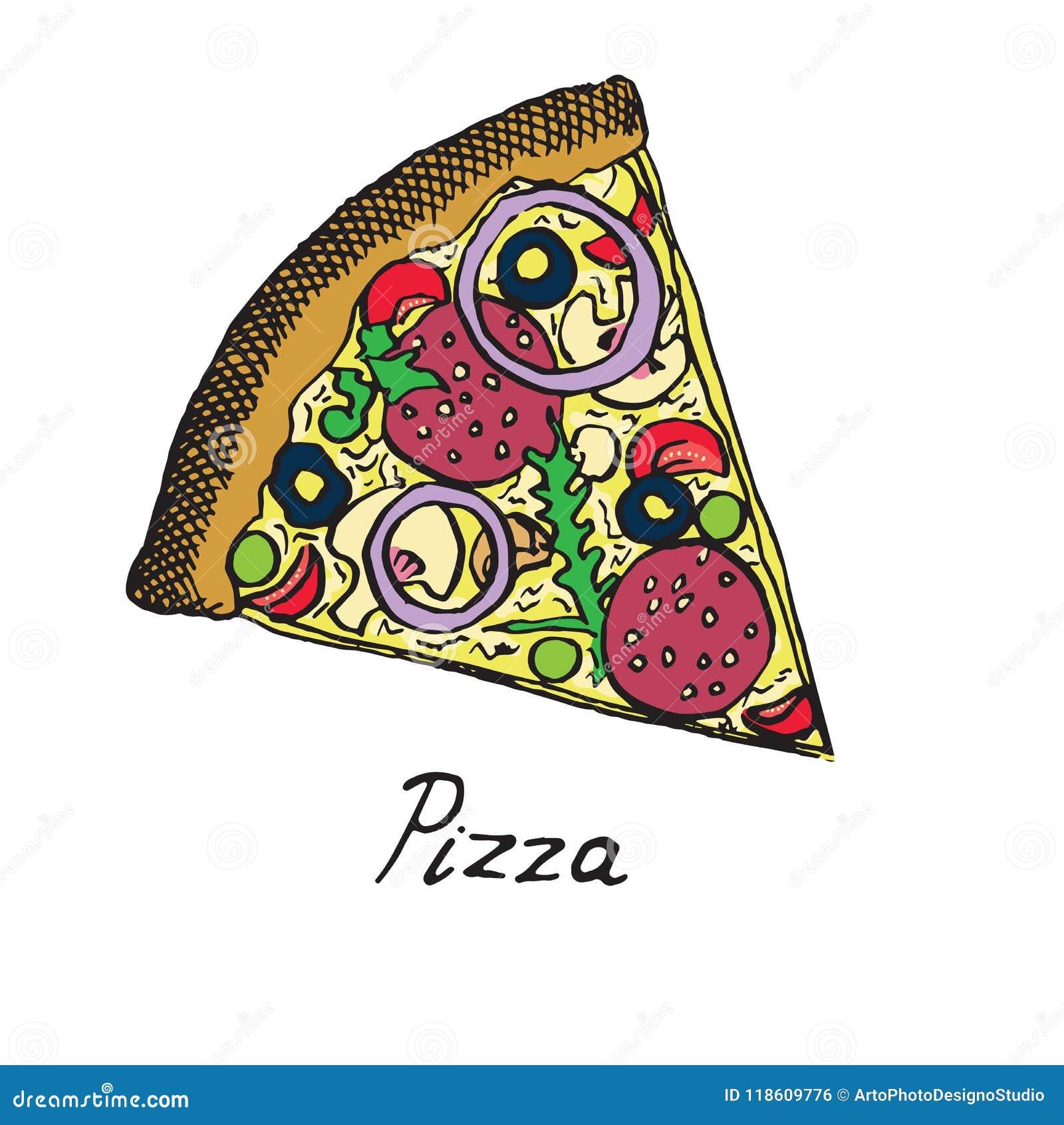 Gorący Włoski pizza plasterek z salami, rucola, pomidorami, cebulą, oliwkami i serem,