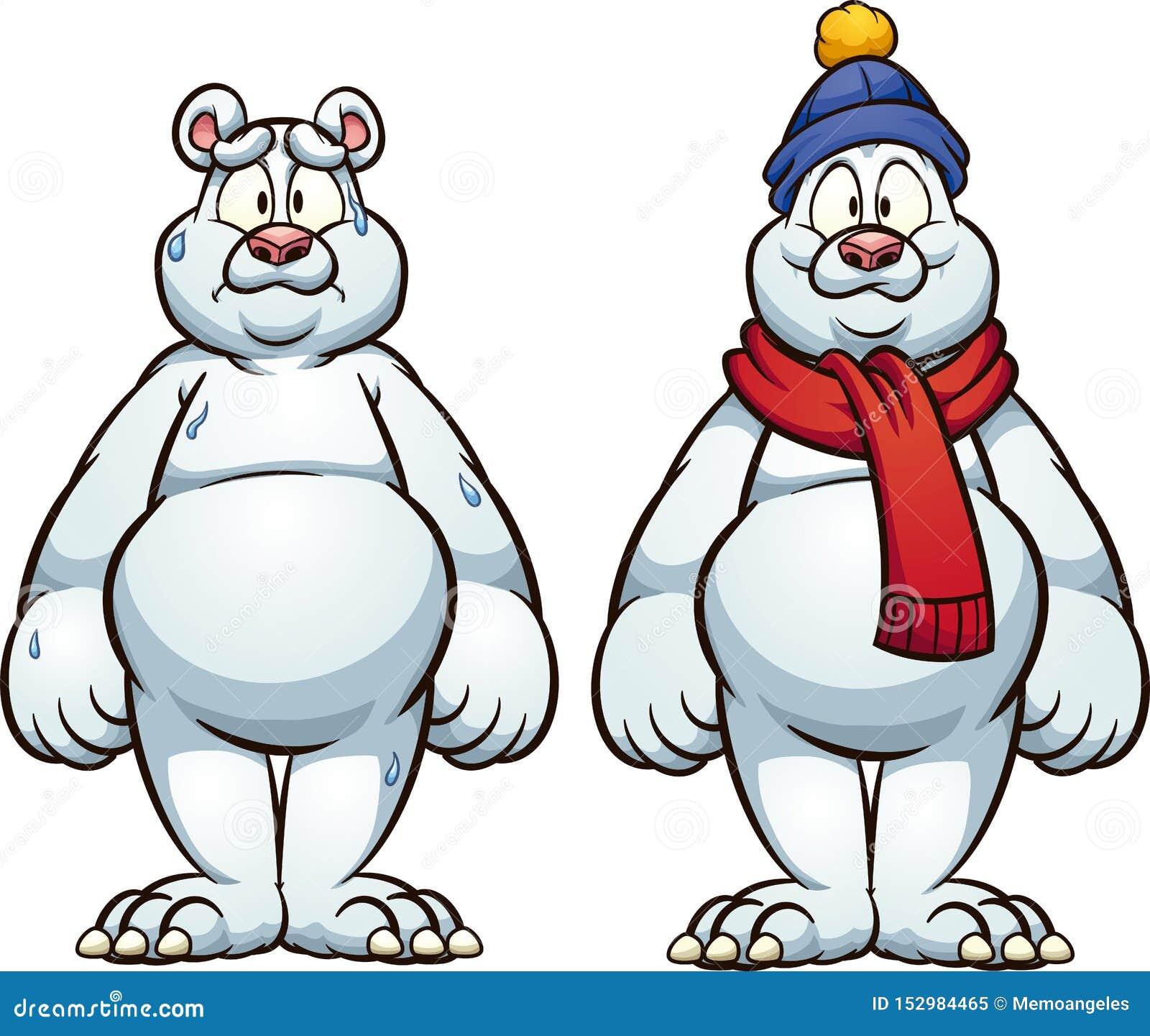 Gorący, zimno, smutny i szczęśliwy niedźwiedź polarny,