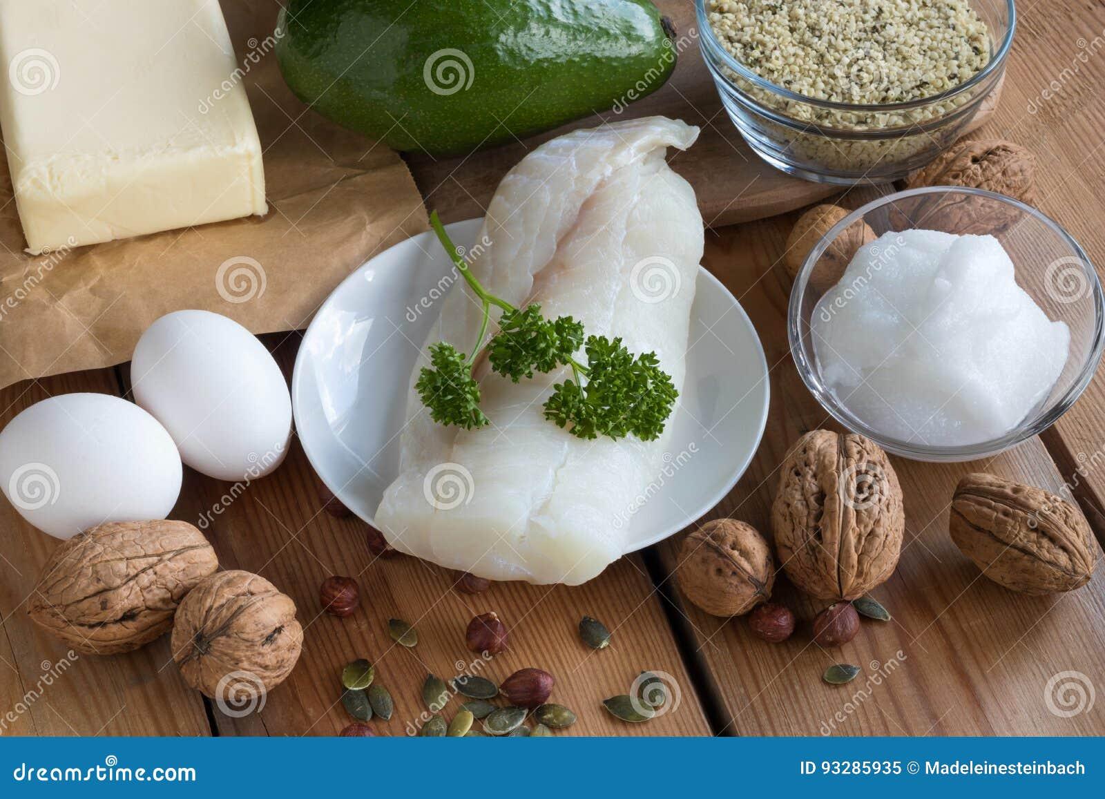Gorduras saudáveis - peixes, abacate, manteiga, ovos, porcas e sementes