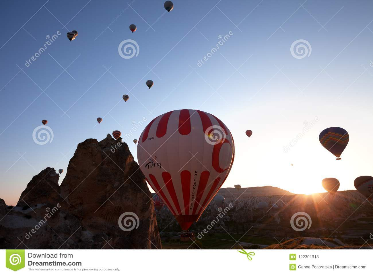 Hot Air Balloons With Turkish Symbolic On Blue Clear Sunlight Sk