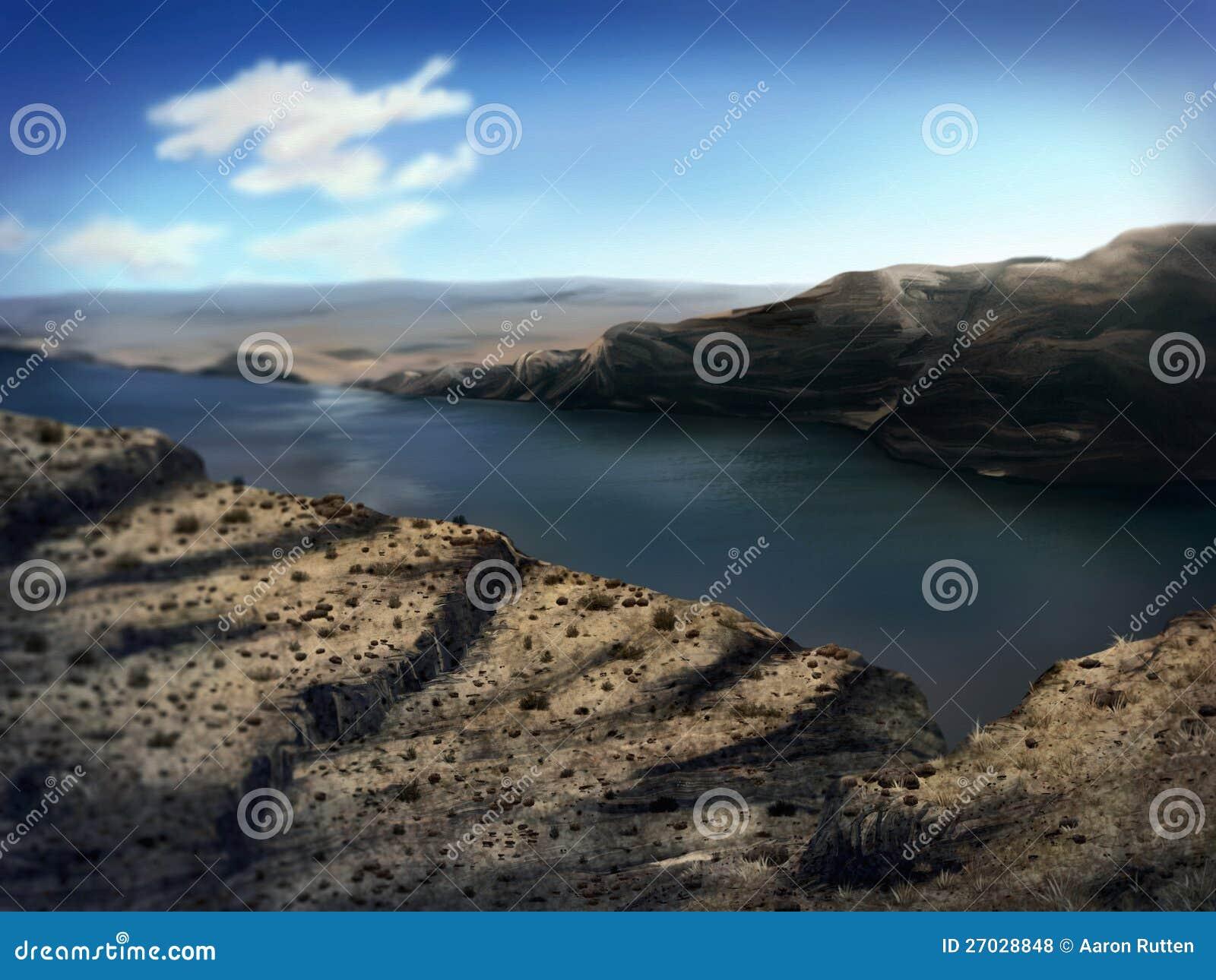 Gorge de fleuve de Washington - peinture de Digitals