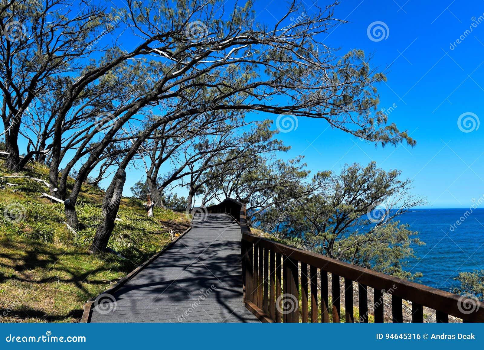 Gorge la pista del paseo en la isla del norte de Stradbroke, Australia