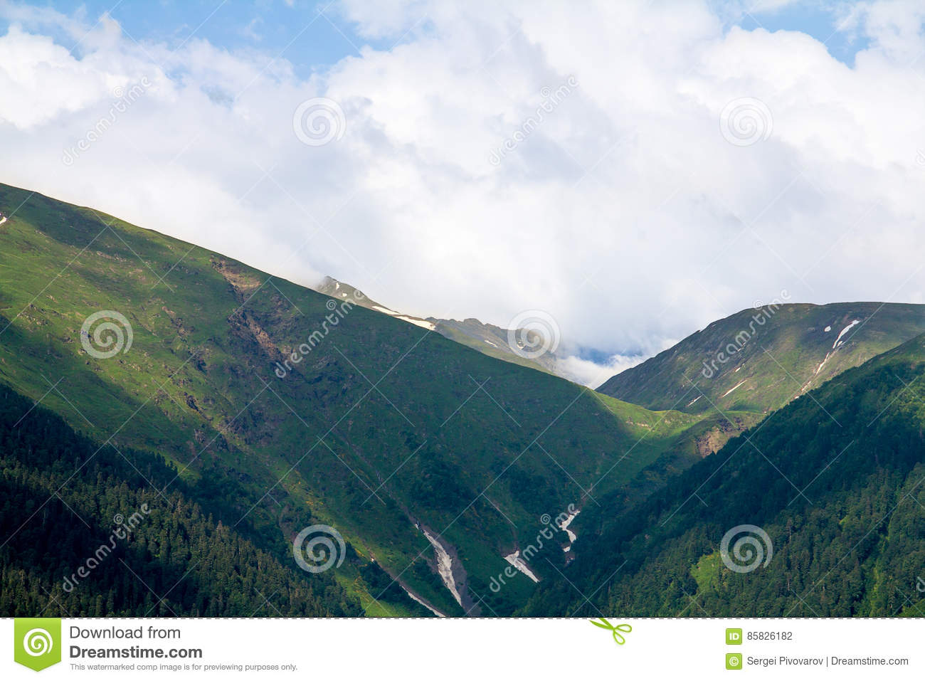 Gorge in the mountains forested with cleft and snow silence and coast