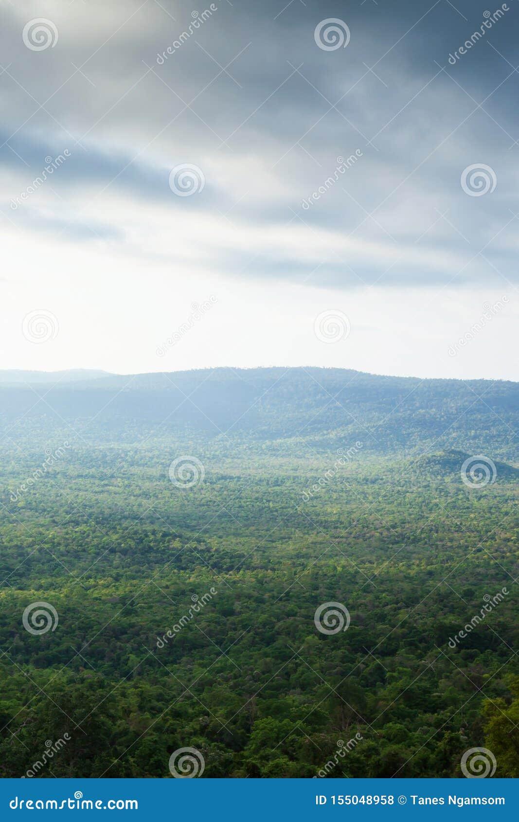 Gorgeous aerial view of Ta Phraya National Park on rainy morning