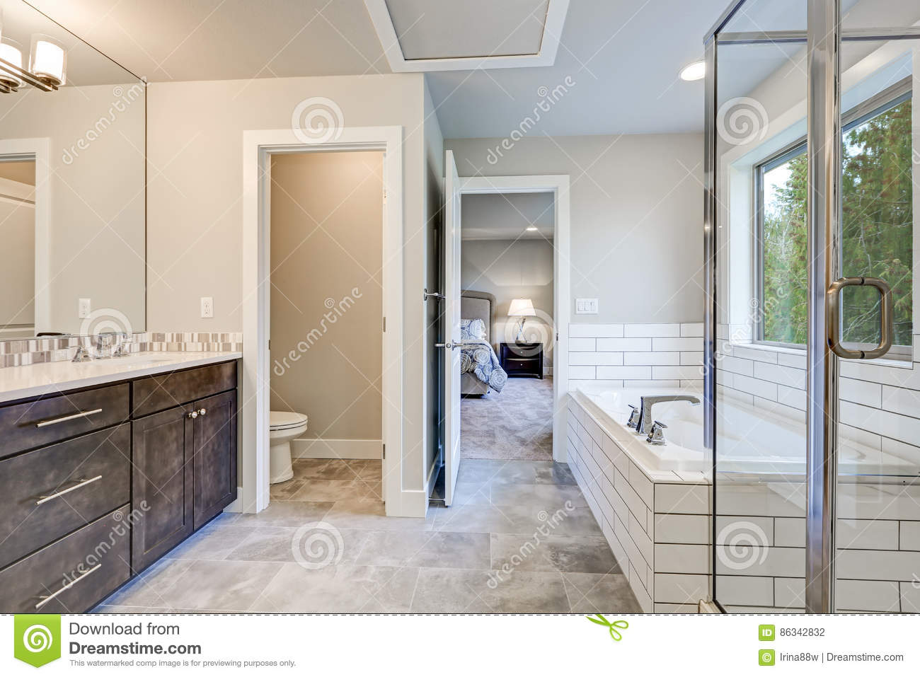Gorgeous Bathroom Interior Boasts Drop In Tub Stock Photo Image Of Beautiful Door 86342832