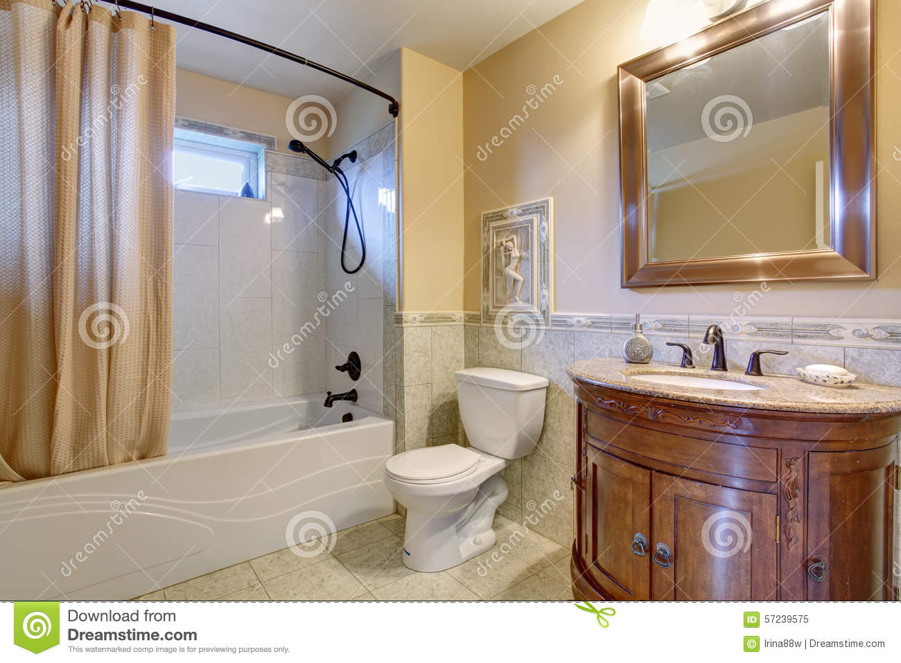 Gorgeous Bathroom With Tan Shower Curtain