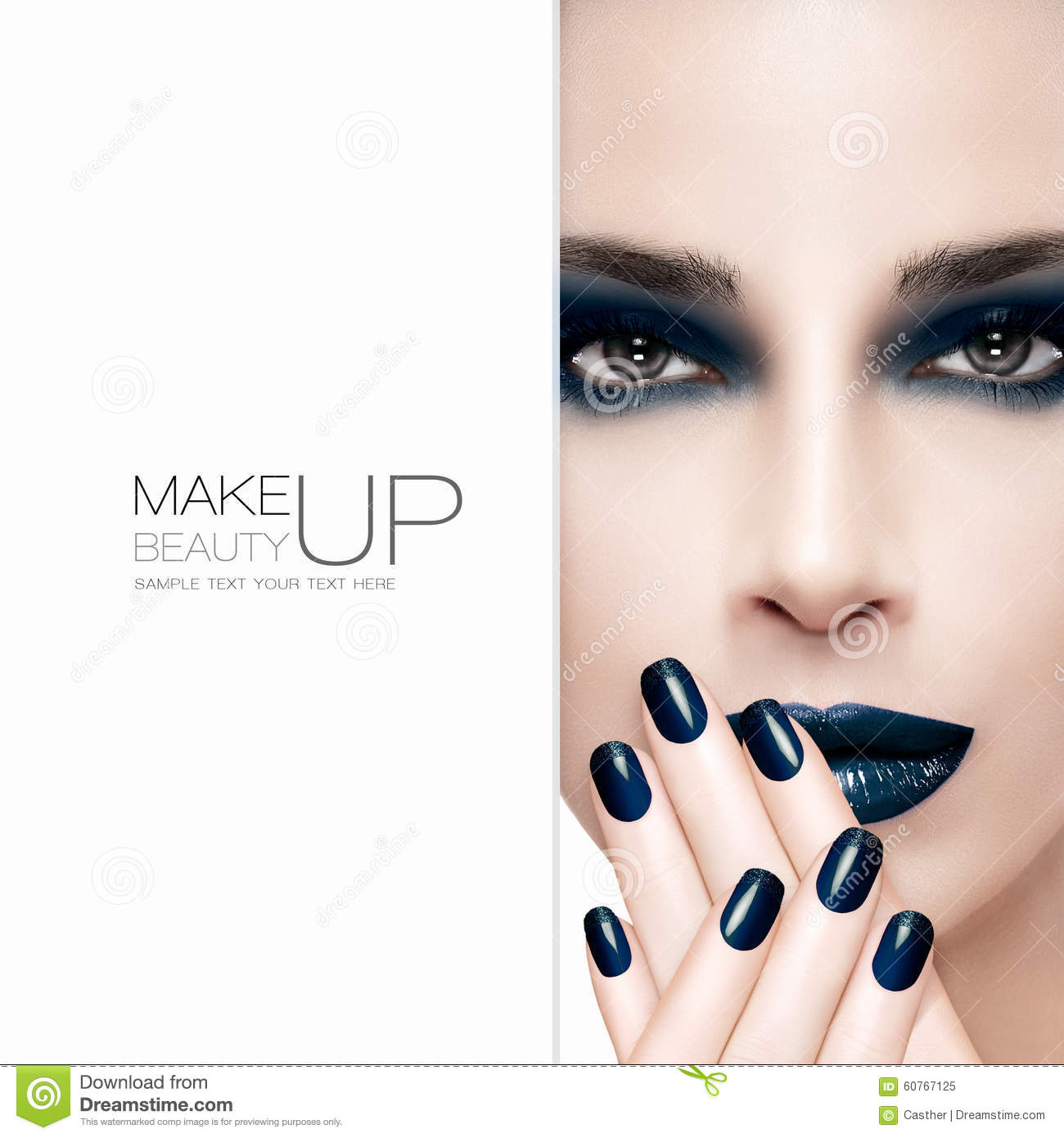 Gorgeous Beauty Fashion Model. Nail Art And Makeup Concept Stock ...