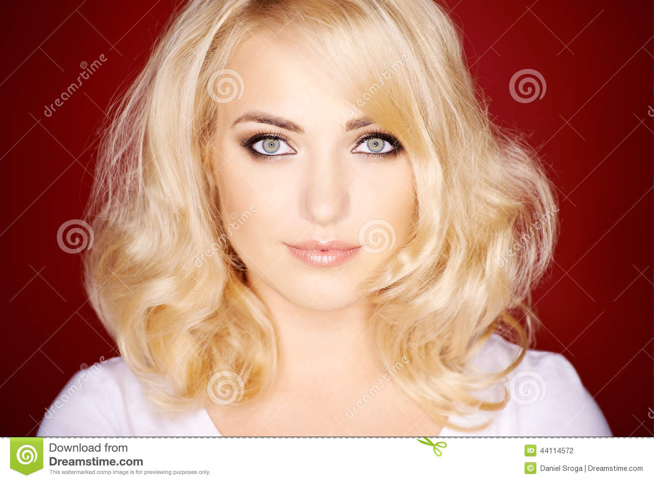 Gorgeous Blond Woman With Shoulder Length Hair Stock Photo