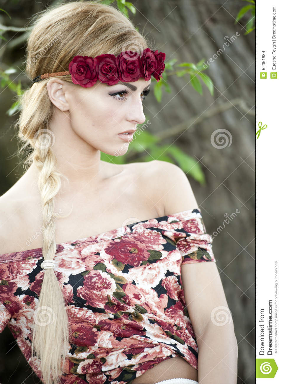 Gorgeous Blonde In Red Flower Crown Stock Photo Image Of Nature