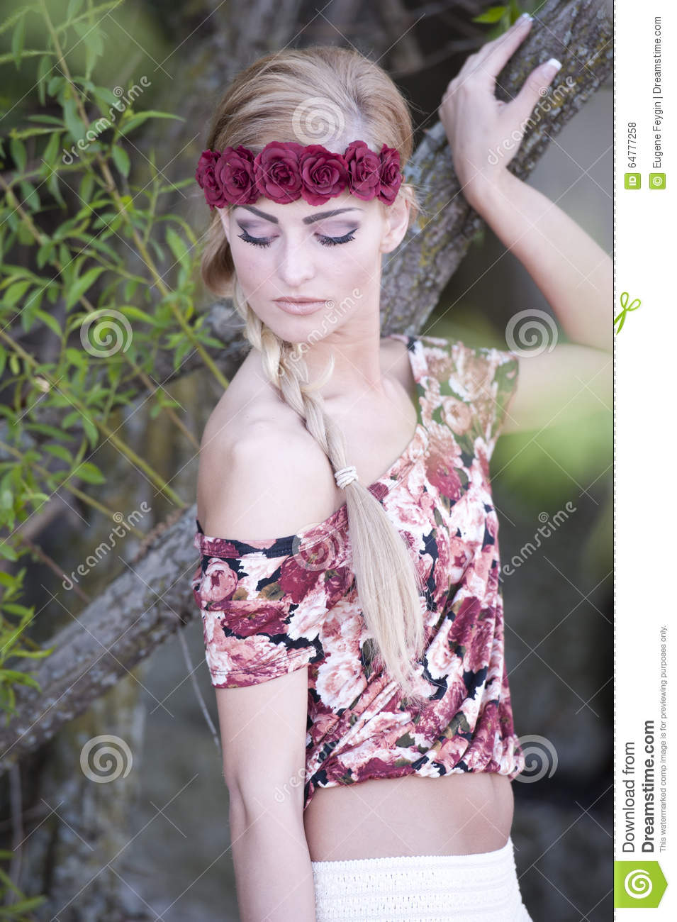 Gorgeous Blonde Wearing Flower Crown Stock Photo Image Of Outdoor