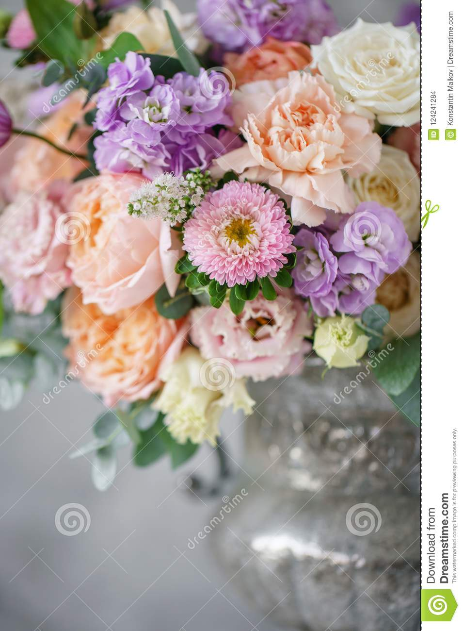 Gorgeous Bouquet Of Different Flowers. Floral Arrangement In Vintage ...