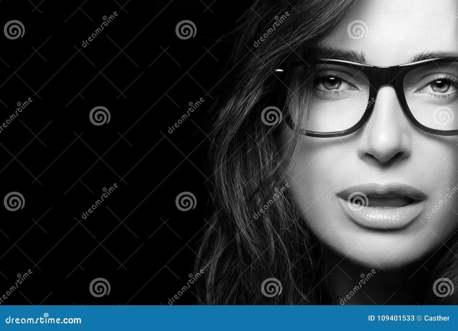 12c2070f131 Cool Trendy Eyewear. Beautiful Young Woman In Glasses. Stock Image ...