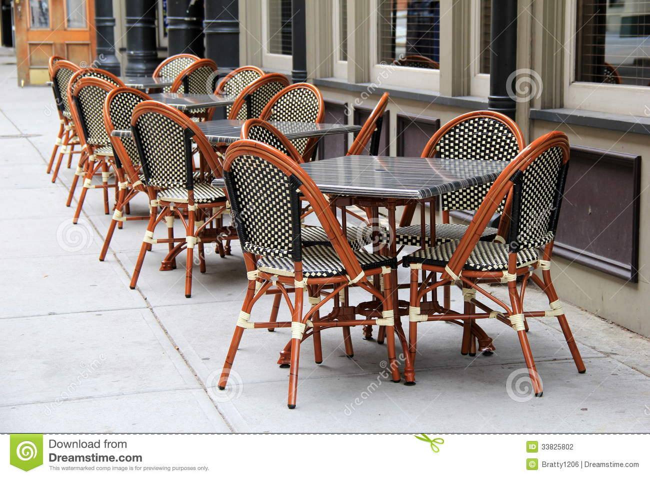 Gorgeous Cane Chairs And Tables Outside Restaurant Stock Photography Image 33825802