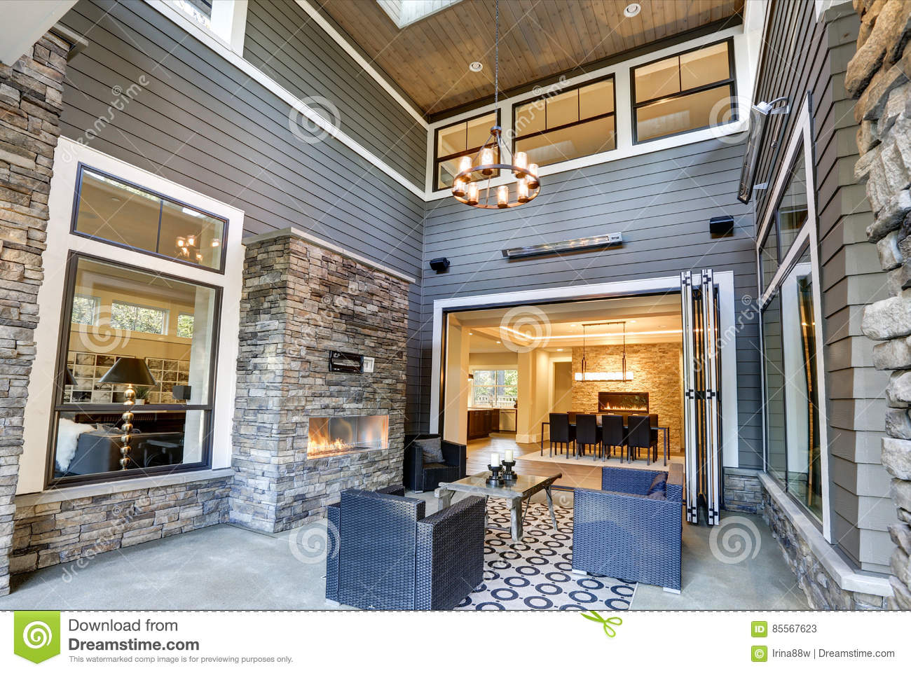 Gorgeous Covered Patio Boasts High Ceiling With Skylights Stock