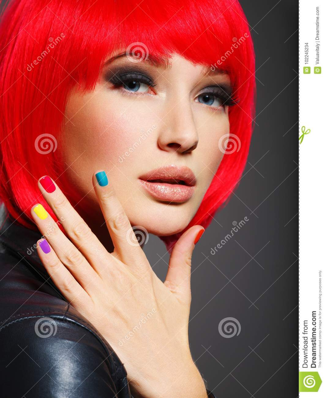 Gorgeous Fashion Woman With Red Hair And Black Jacket Stock Photo