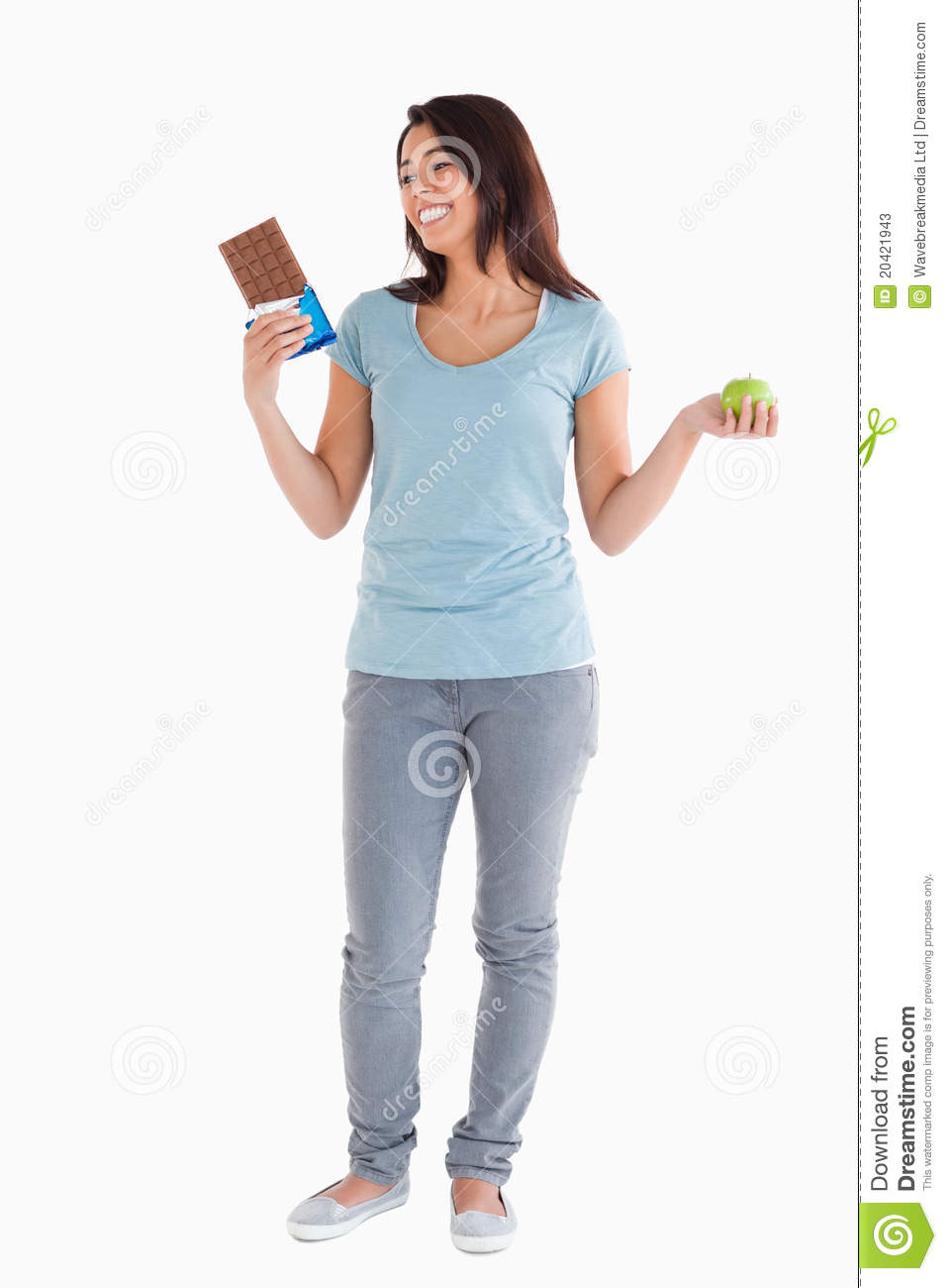 Attractive female holding fruit food apple in hands for Food bar hands