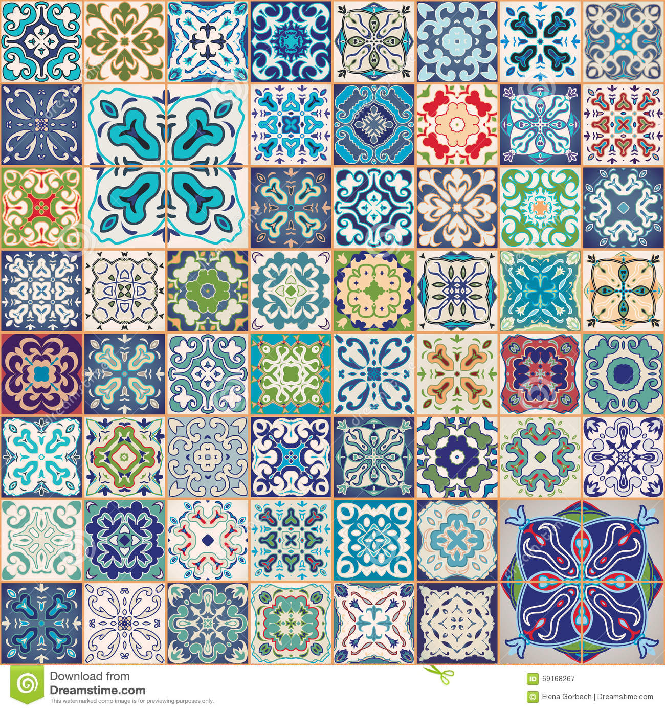 Gorgeous Floral Patchwork Design. Colorful Moroccan Or