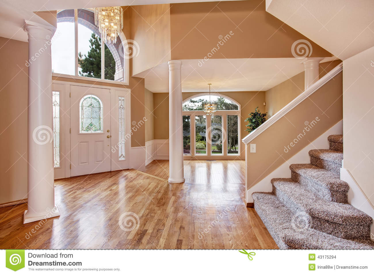 Gorgeous foyer in luxury house stock photo image 43175294 for House plans with foyer entrance
