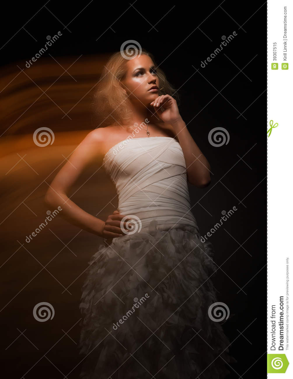 4da56d147d7 Gorgeous Indecisive Girl In White Dress Stock Image - Image of human ...
