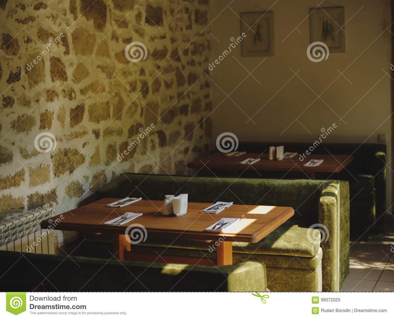 Vintage Restaurant Style Decorations Tables Sofas On A Blurred Indoors Background Cafe Interior Concept Copy Space Stock Image Image Of Architecture Modern 99372025
