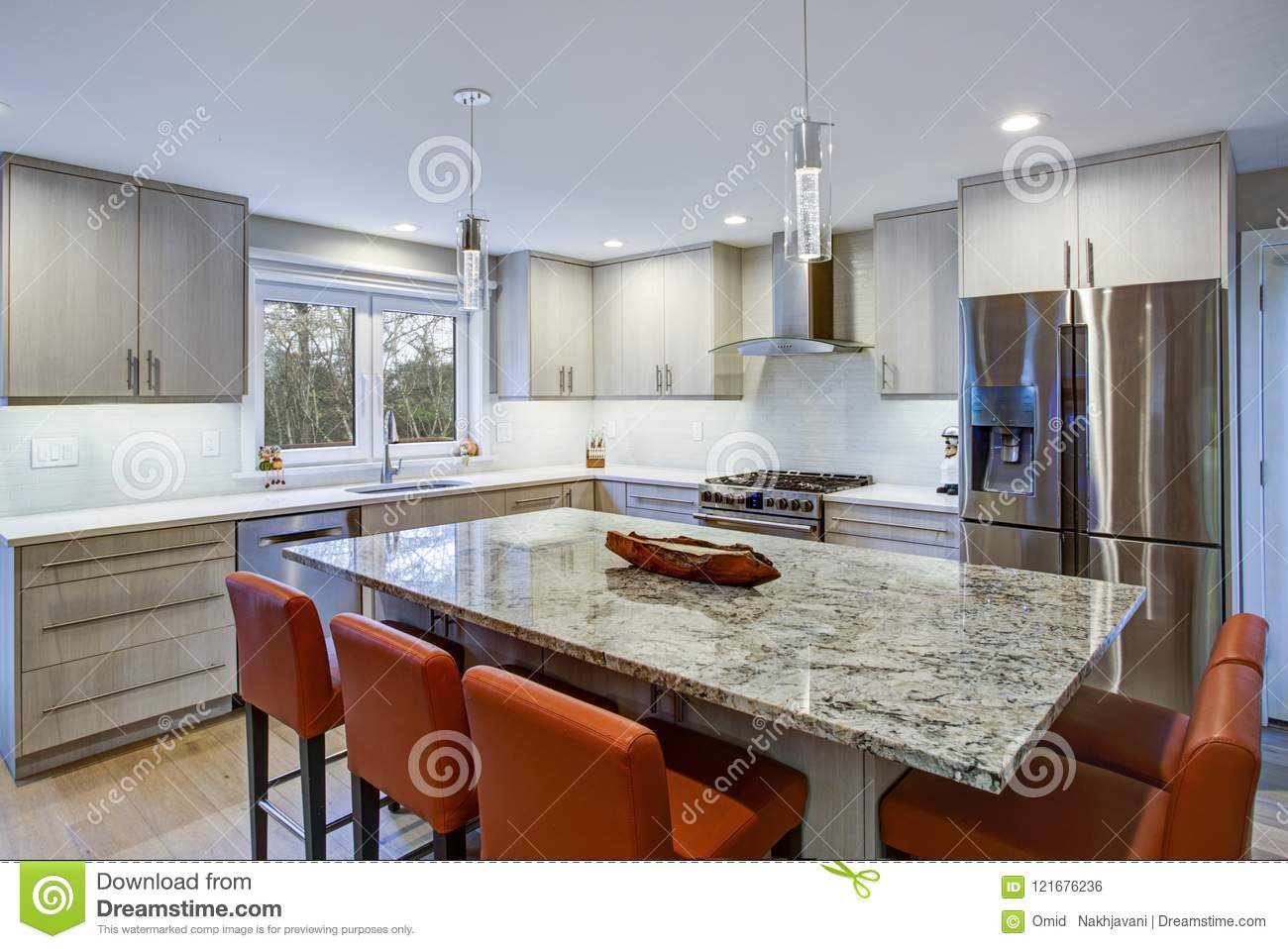 - Lovely Kitchen Room With Kitchen Island Stock Photo - Image Of