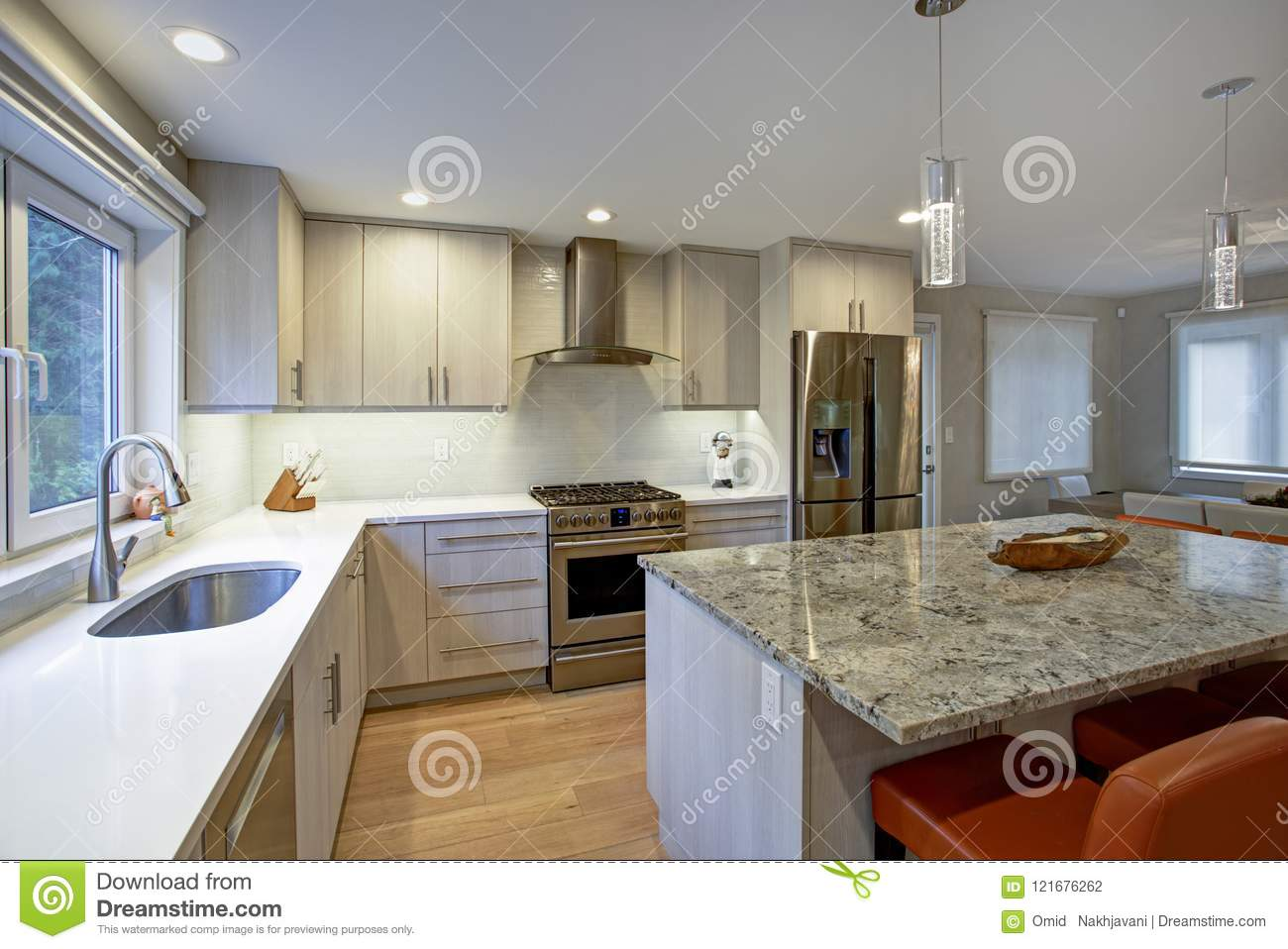 Lovely Kitchen Room With Kitchen Island Stock Photo - Image ...