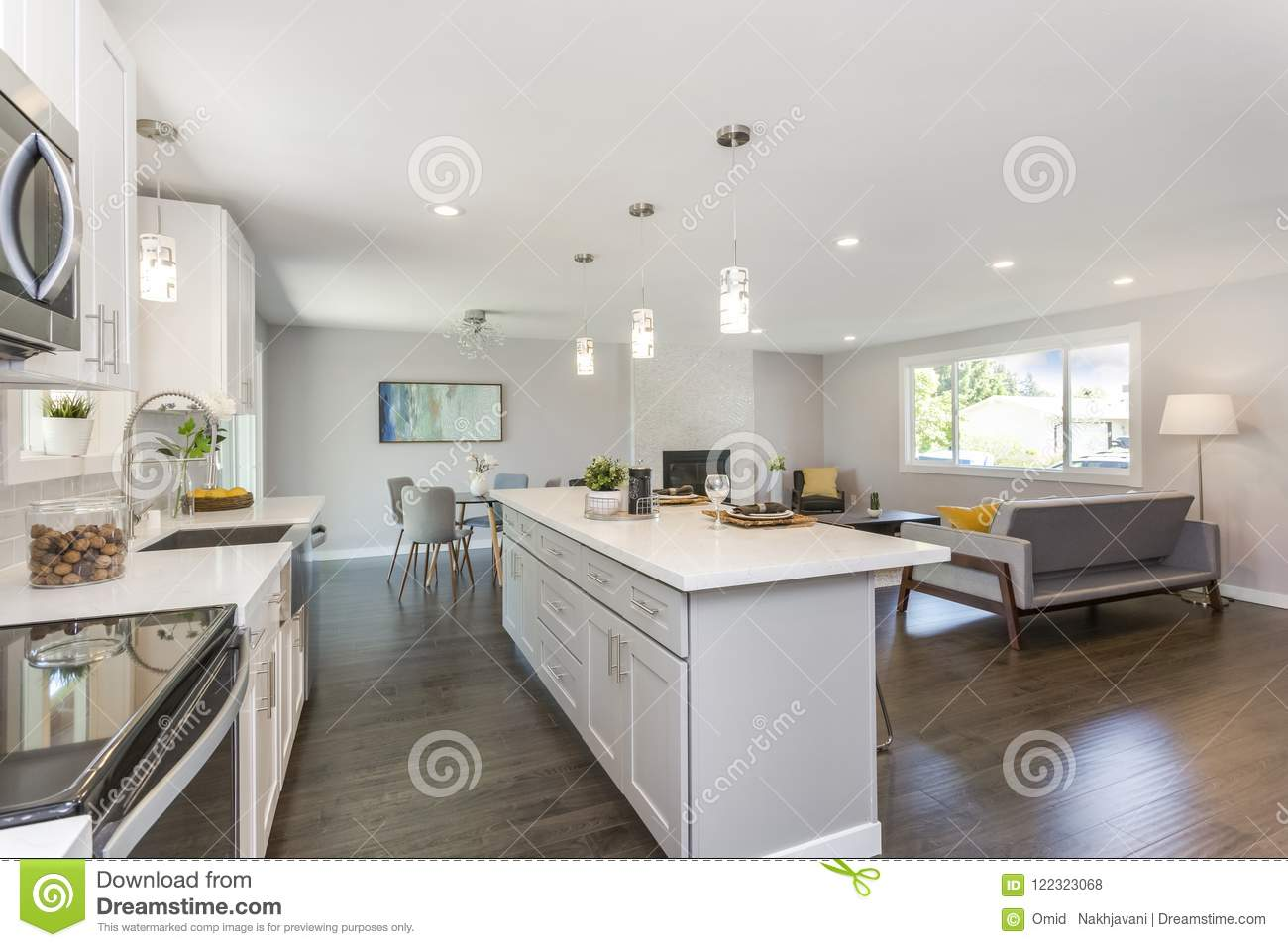Gorgeous Kitchen With Open Concept Floorplan Stock Photo Image Of Hardwood Indoor 122323068