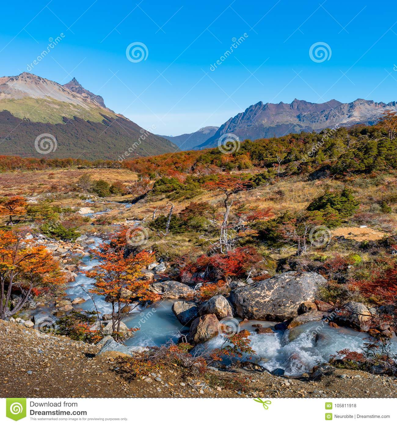 Gorgeous landscape of Patagonia`s Tierra del Fuego National Park