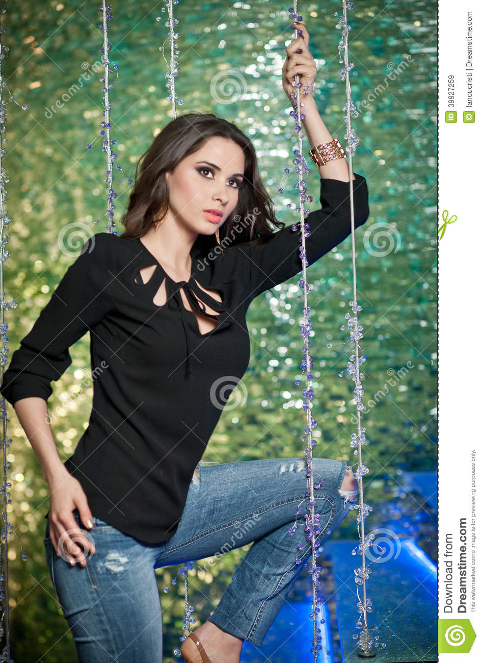 Gorgeous Model Posing In A Modern Night Club Stock Image Image Of